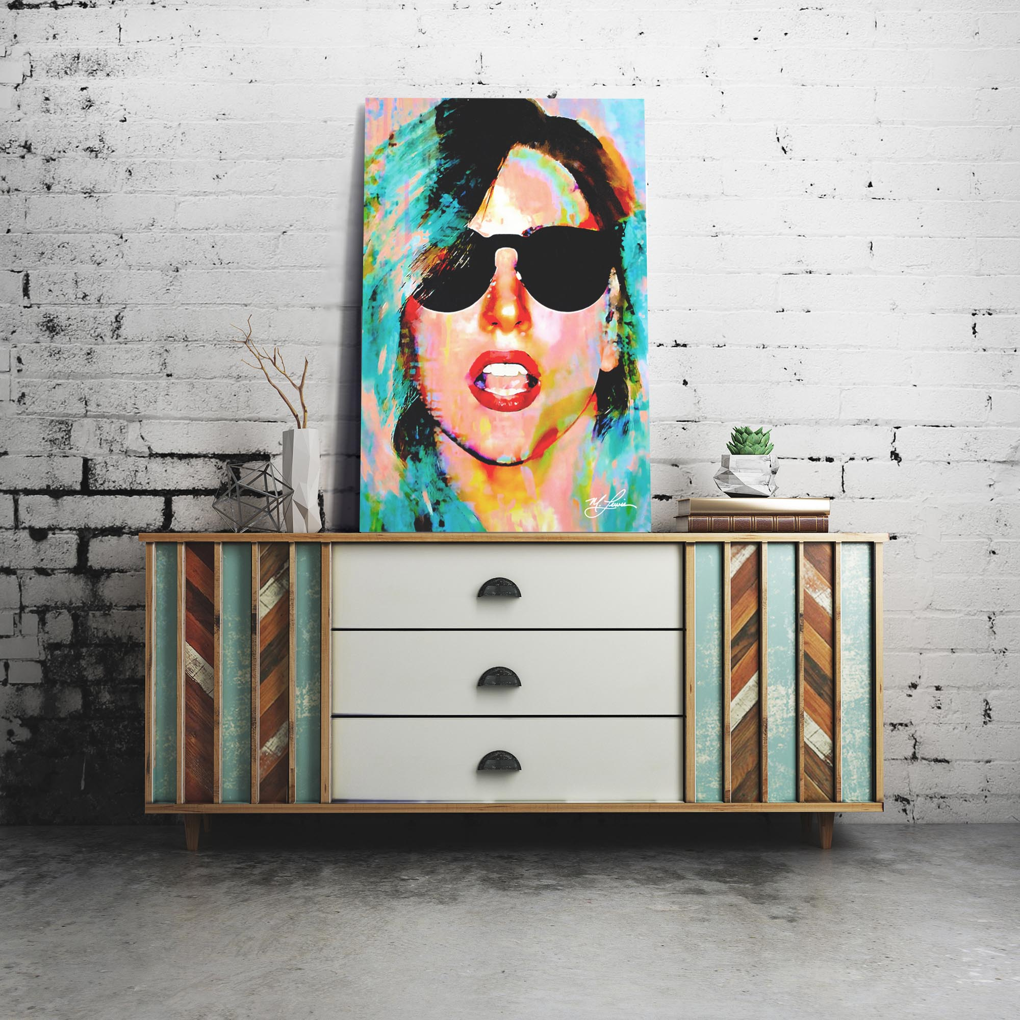 Lady Gaga Everyday Art by Mark Lewis - Contemporary Pop Art on Metal or Plexiglass - Lifestyle View