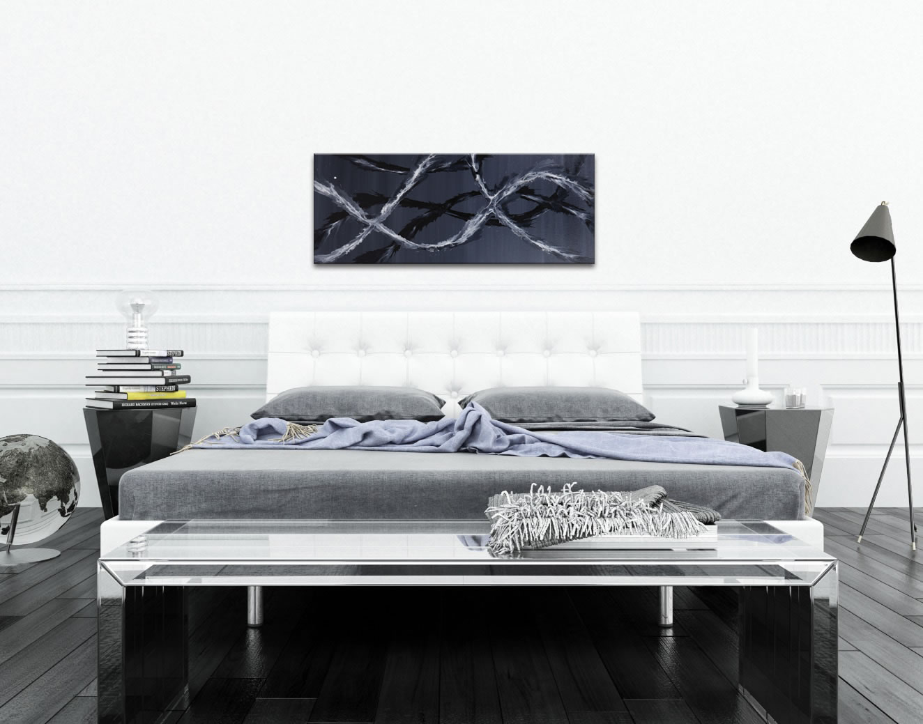 Black & White Waves : Minimalist Abstract Metal Art - Lifestyle Image