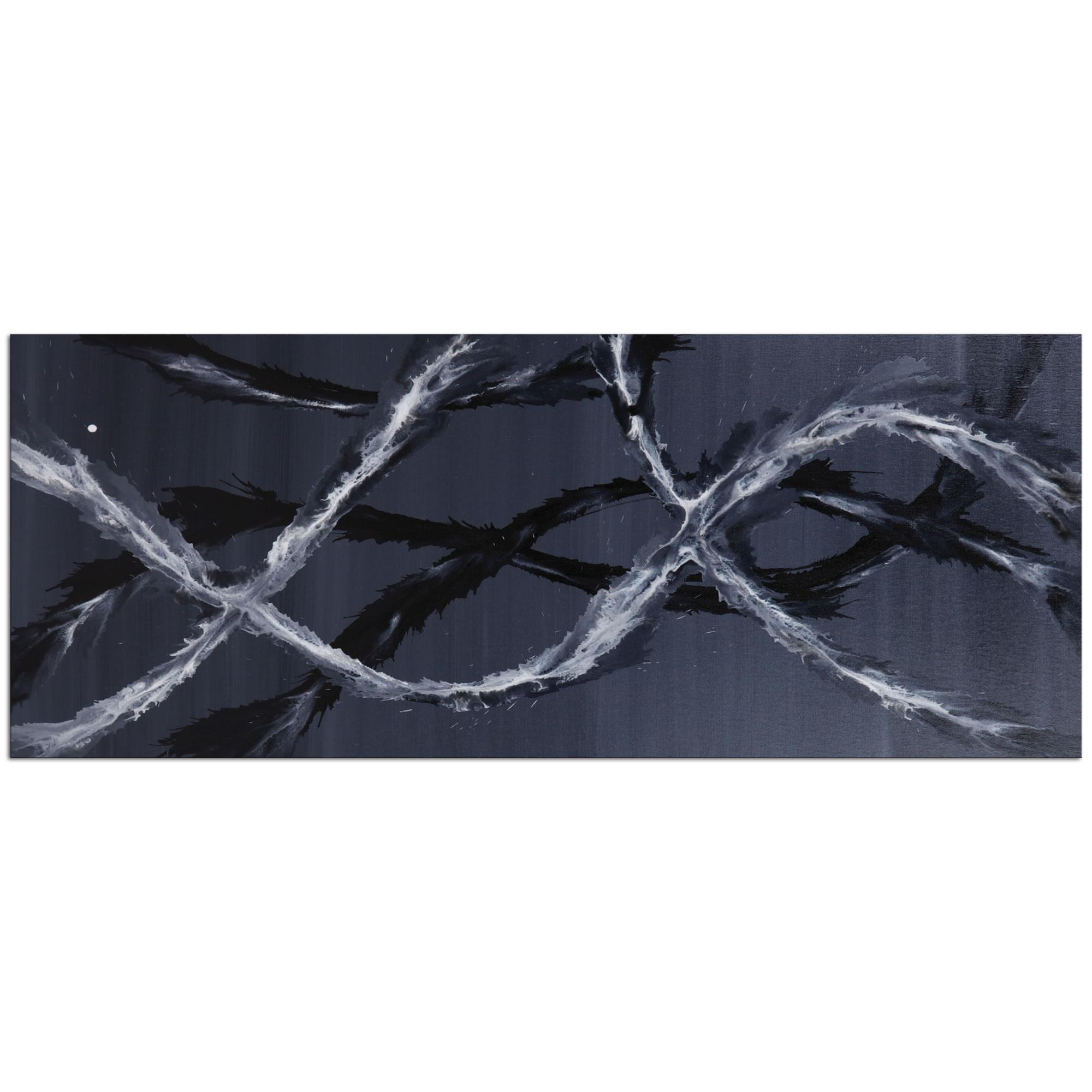 Black & White Waves : Minimalist Abstract Metal Art