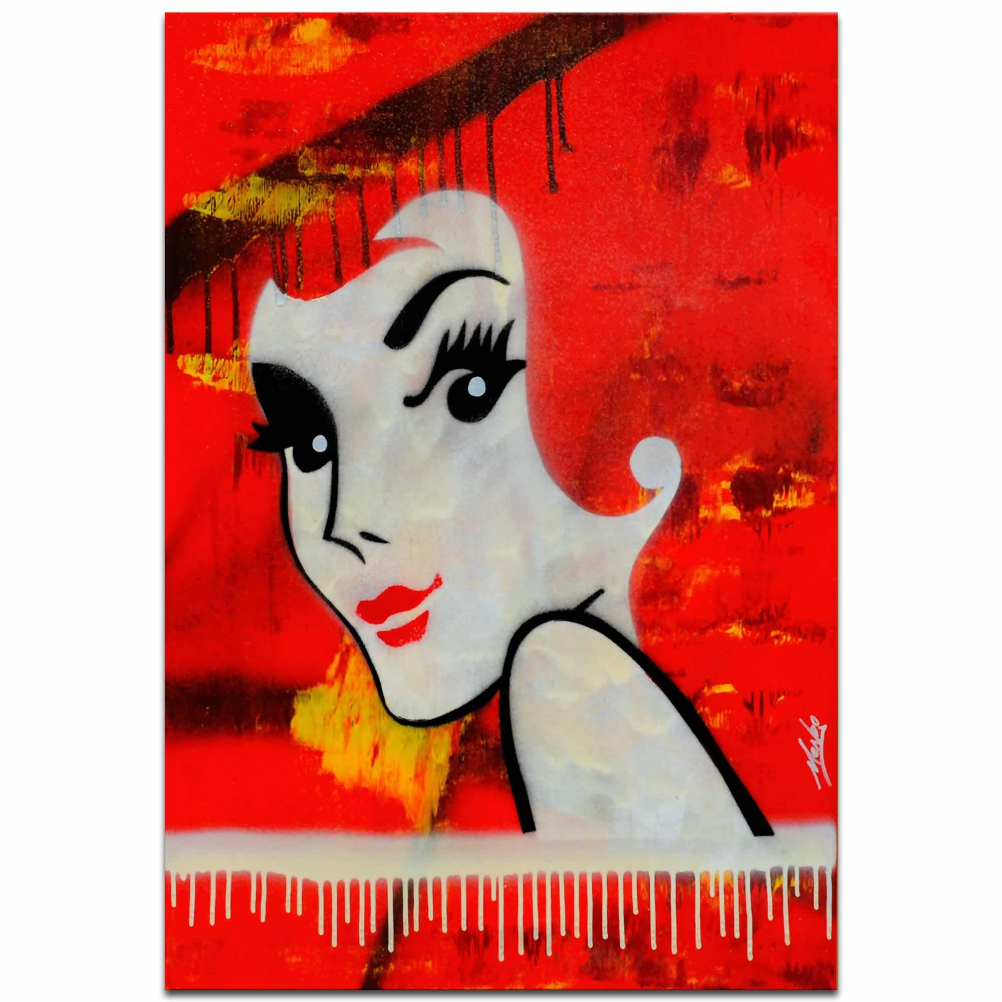Flaming Redhead   Mid Century Style Pop Art, Australian Culture Artwork,  Vintage Wall Decor