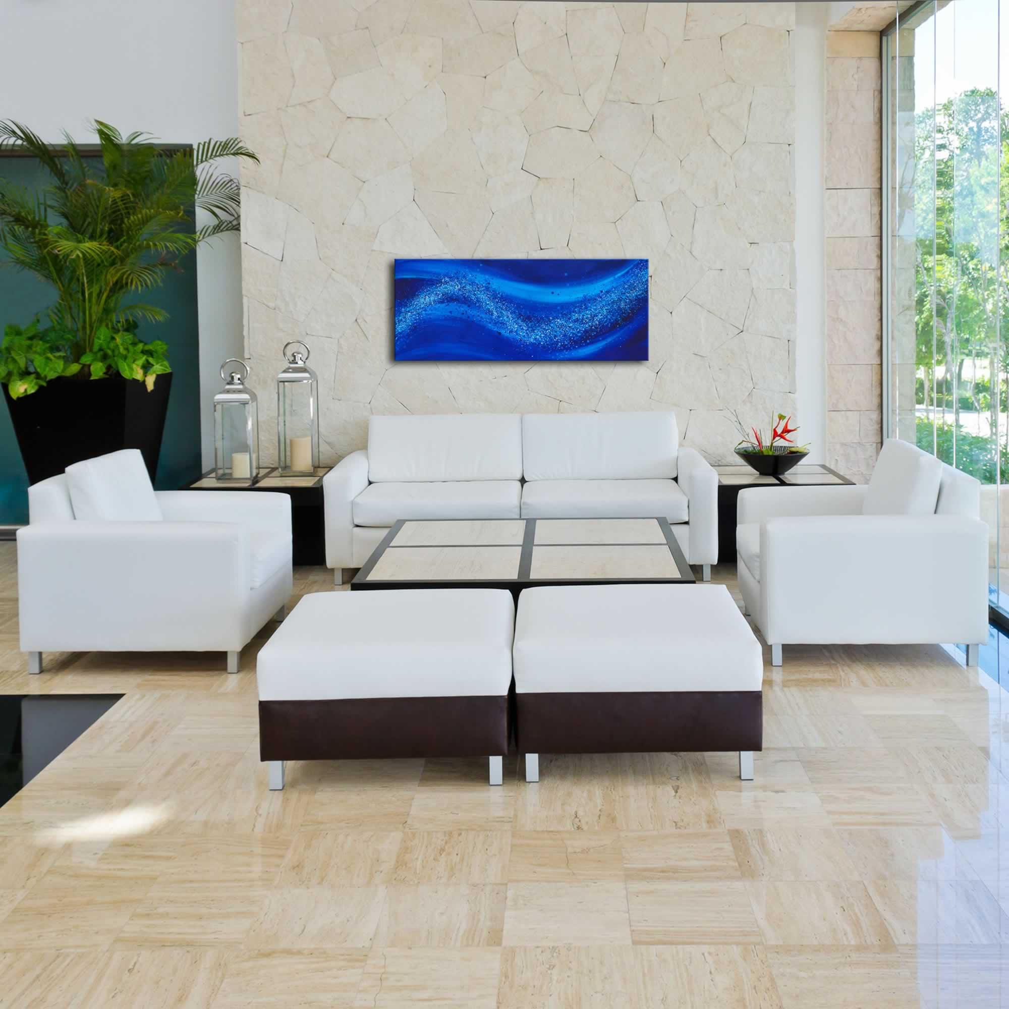 Beach Bliss - Blue & White Contemporary Abstract Artwork, Modern Ocean Wave Decor, Water Art