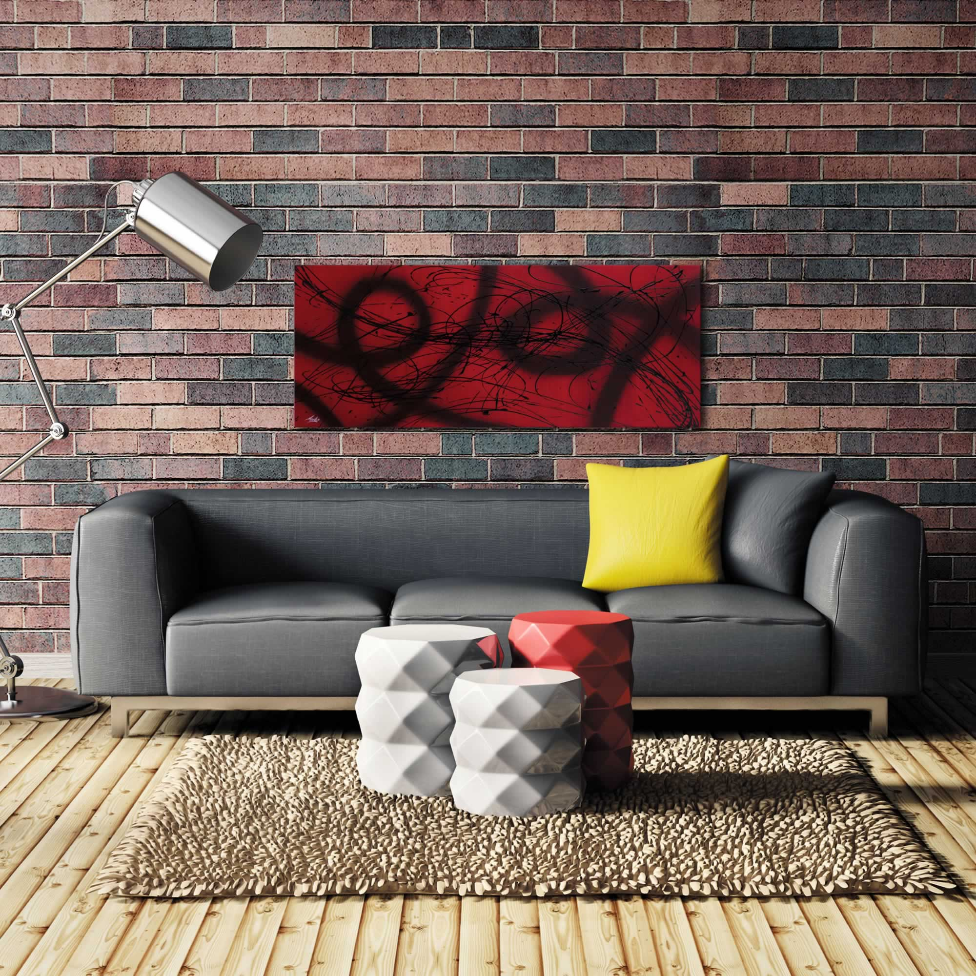 Connected - Black & Deep Red Painting, Modern Abstract Art, Contemporary Urban Decor - Alternate View 1