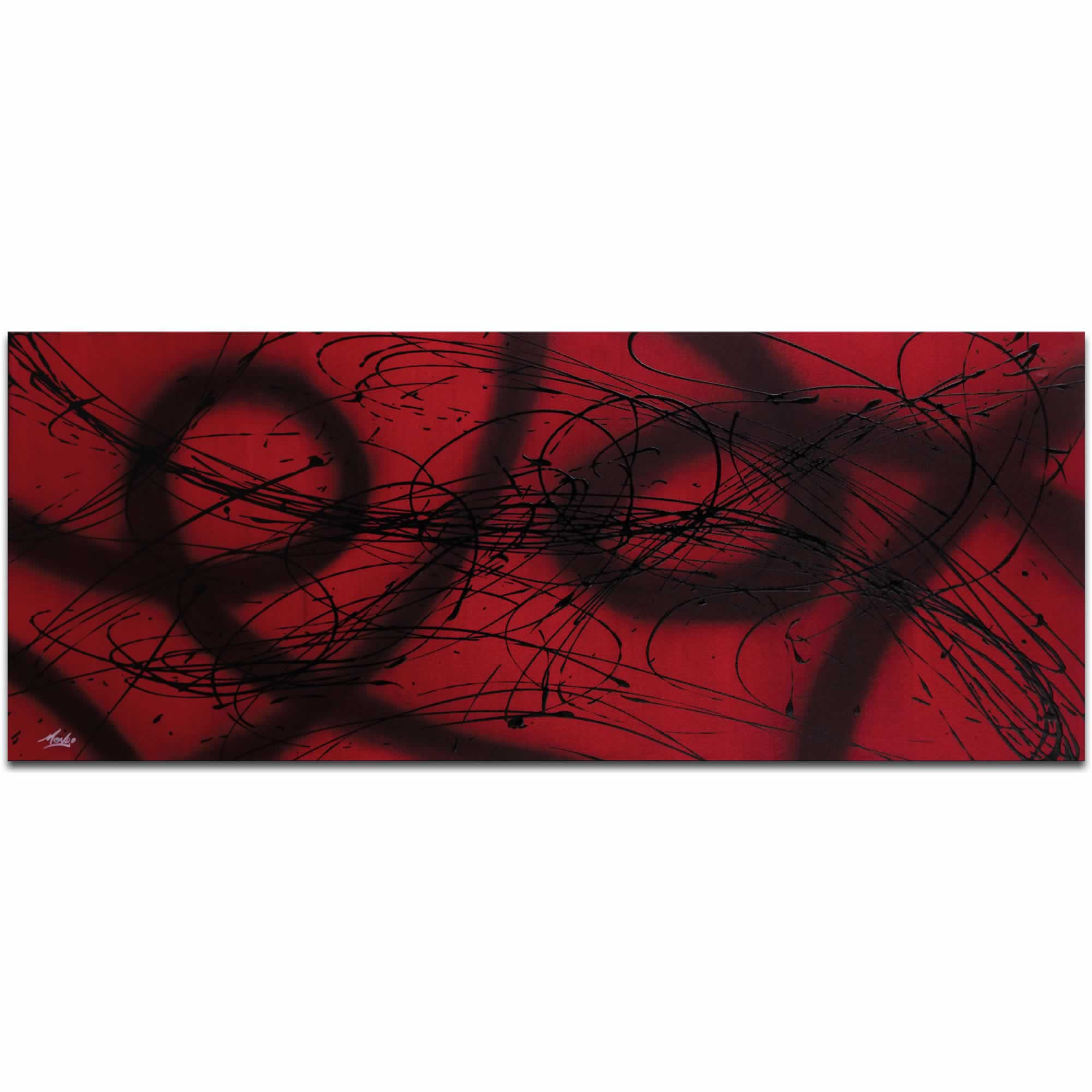 Connected - Black & Deep Red Painting, Modern Abstract Art, Contemporary Urban Decor