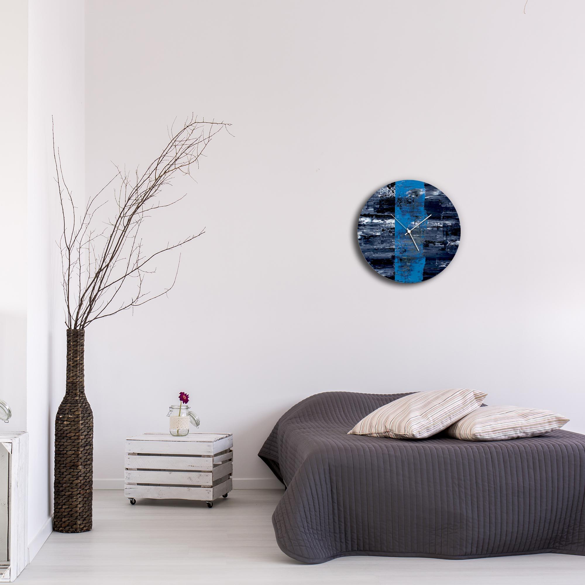 Blue Line Circle Clock by Mendo Vasilevski - Urban Abstract Home Decor - Lifestyle View