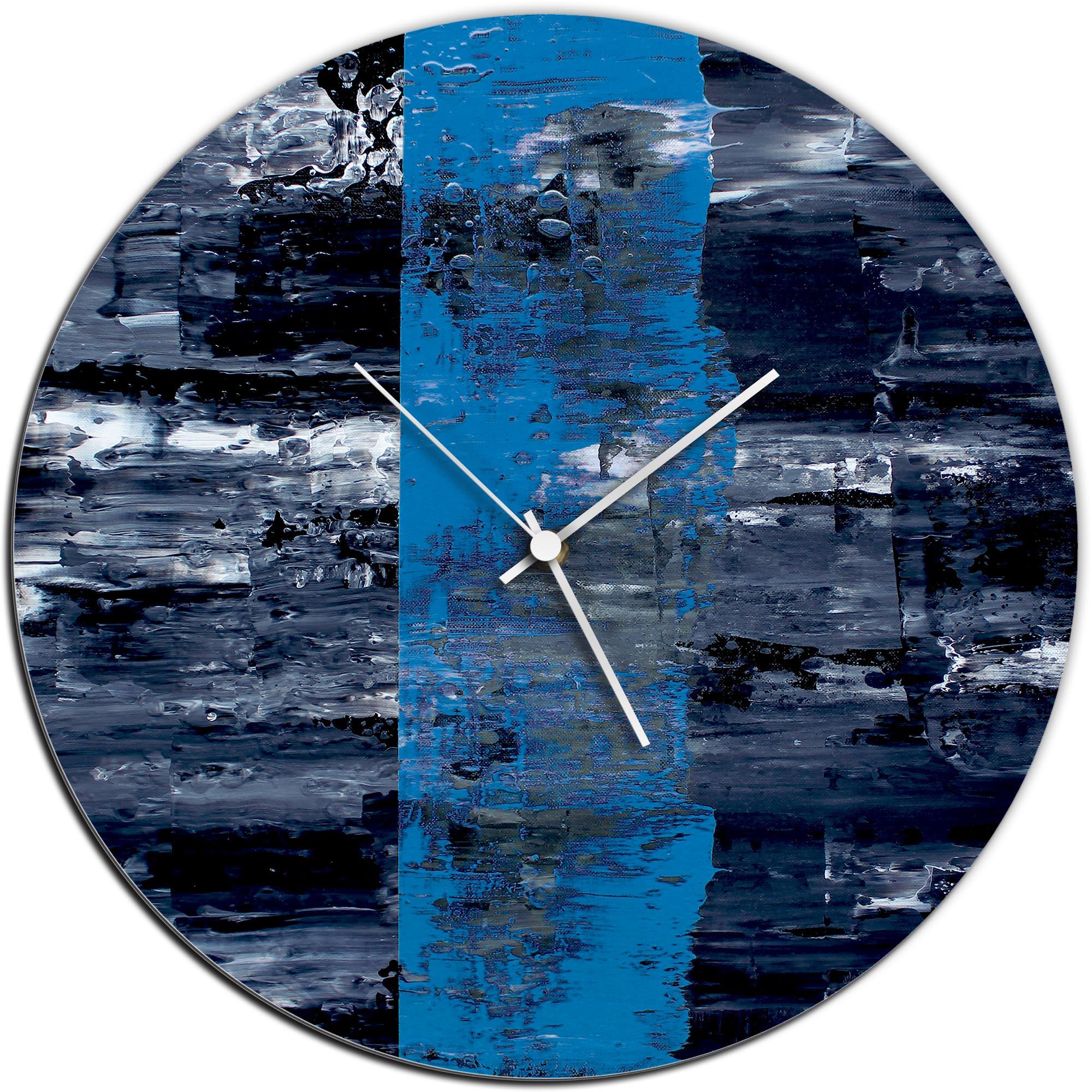 Mendo Vasilevski 'Blue Line Circle Clock' 16in x 16in Modern Wall Clock on Aluminum Composite