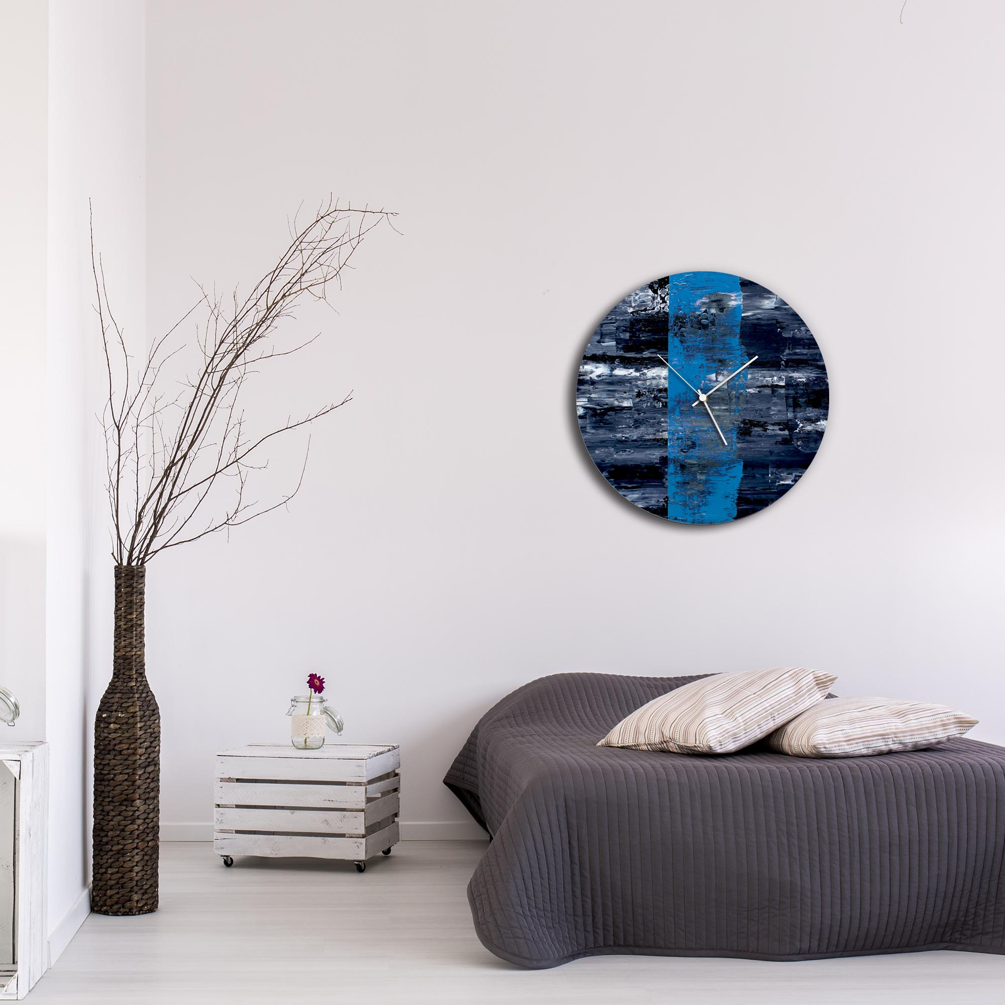 Blue Line Circle Clock Large by Mendo Vasilevski - Urban Abstract Home Decor - Lifestyle View
