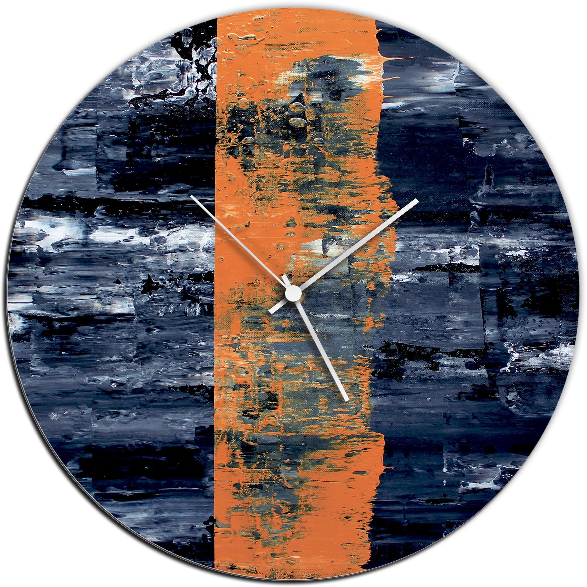 Mendo Vasilevski 'Orange Line Circle Clock' 16in x 16in Modern Wall Clock on Aluminum Composite