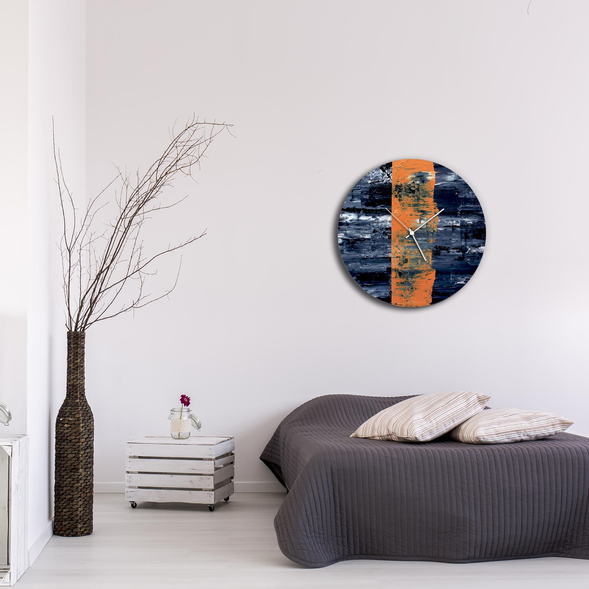 Orange Line Circle Clock Large by Mendo Vasilevski - Urban Abstract Home Decor - Lifestyle View