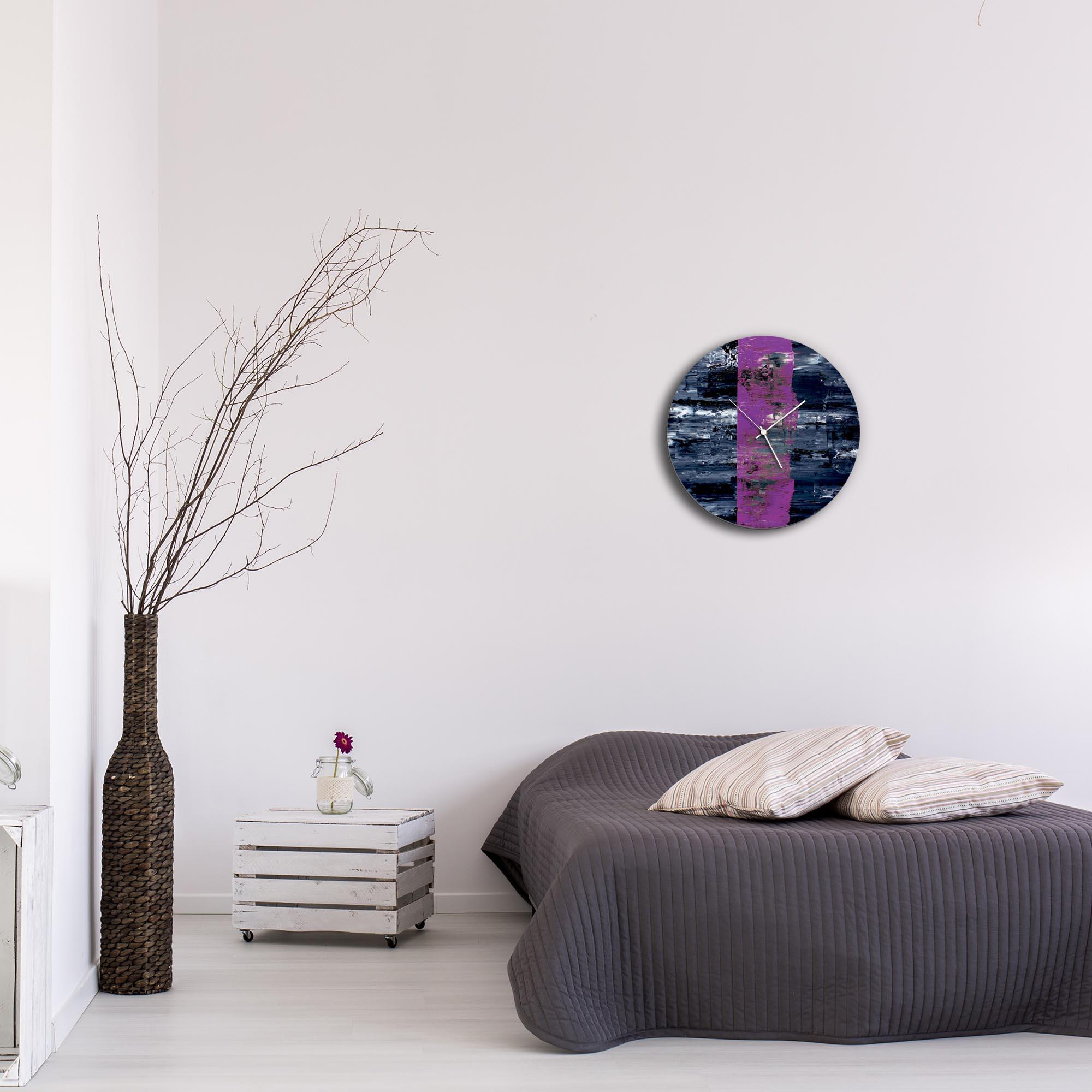 Purple Line Circle Clock by Mendo Vasilevski - Urban Abstract Home Decor - Lifestyle View