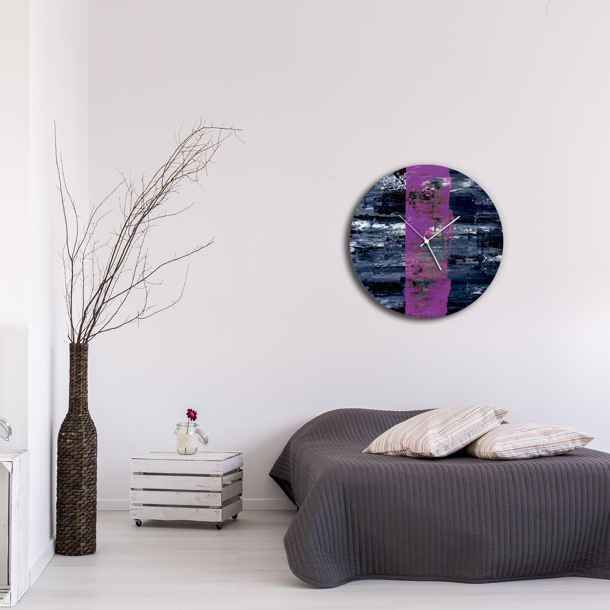 Purple Line Circle Clock Large by Mendo Vasilevski - Urban Abstract Home Decor - Lifestyle View