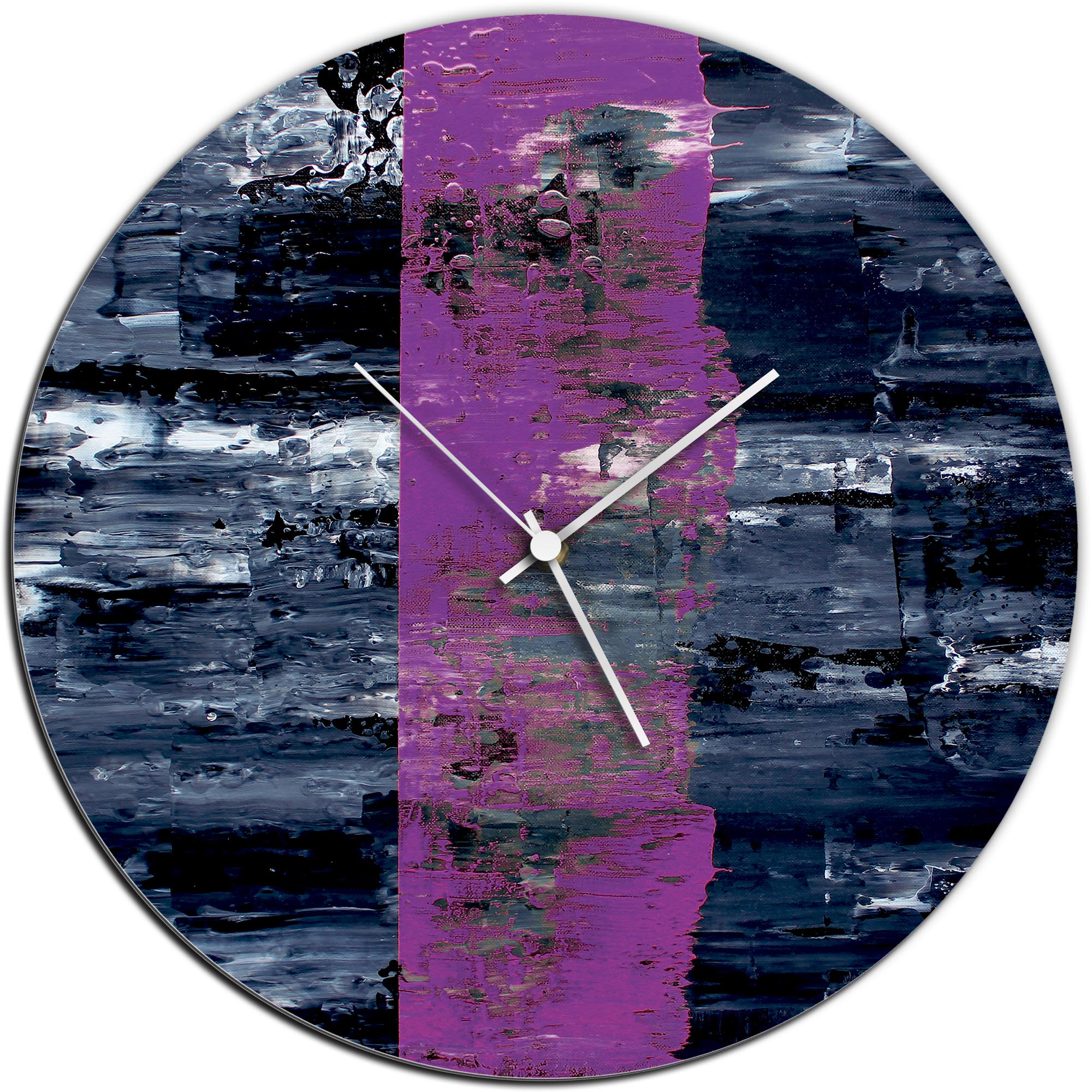 Mendo Vasilevski 'Purple Line Circle Clock Large' 22in x 22in Modern Wall Clock on Aluminum Composite