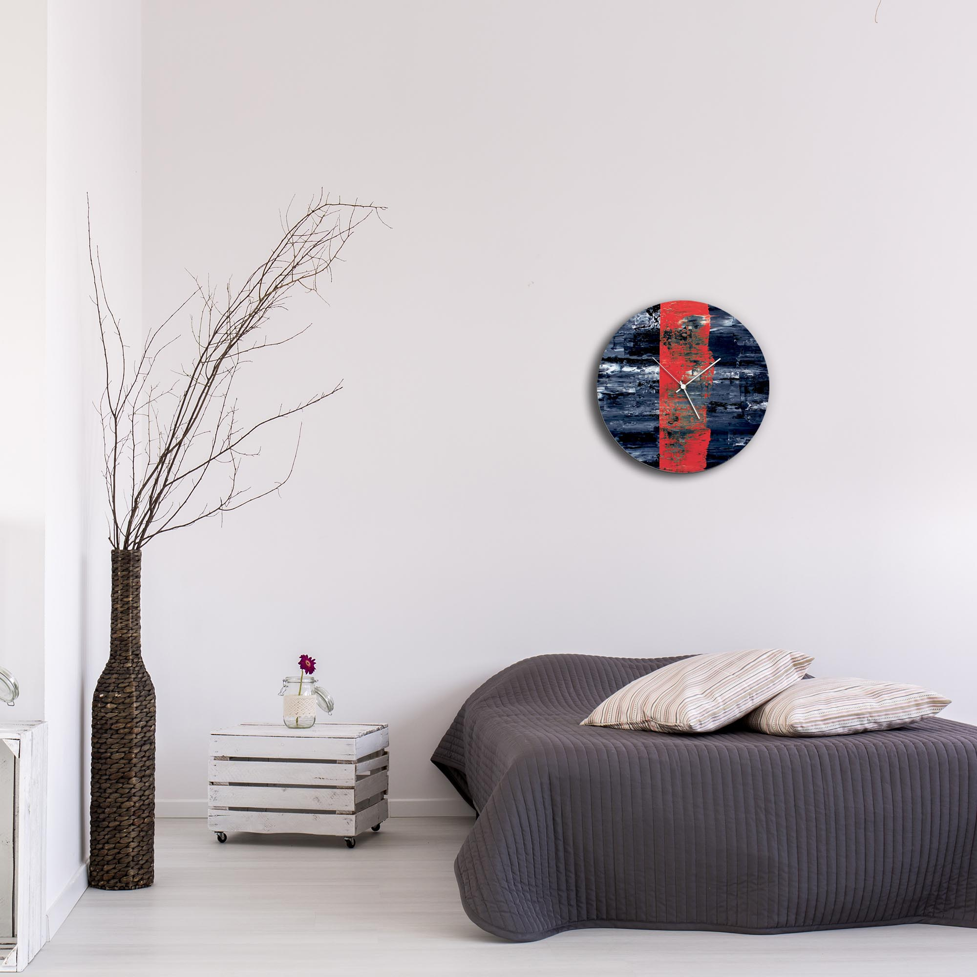 Red Line Circle Clock by Mendo Vasilevski - Urban Abstract Home Decor - Lifestyle View