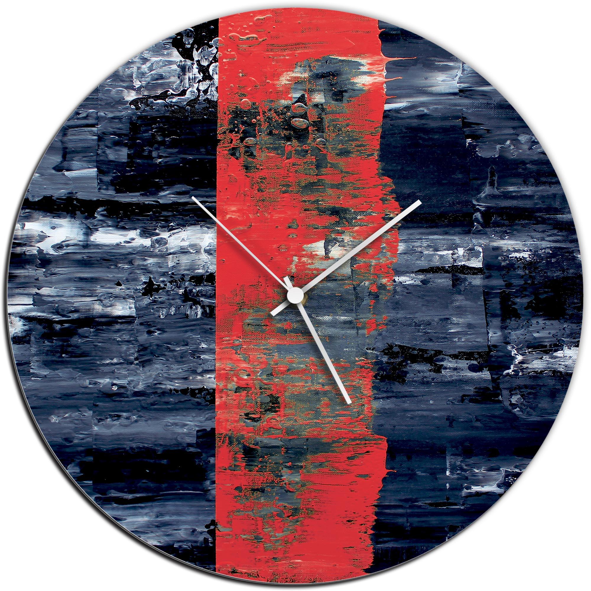 Mendo Vasilevski 'Red Line Circle Clock' 16in x 16in Modern Wall Clock on Aluminum Composite