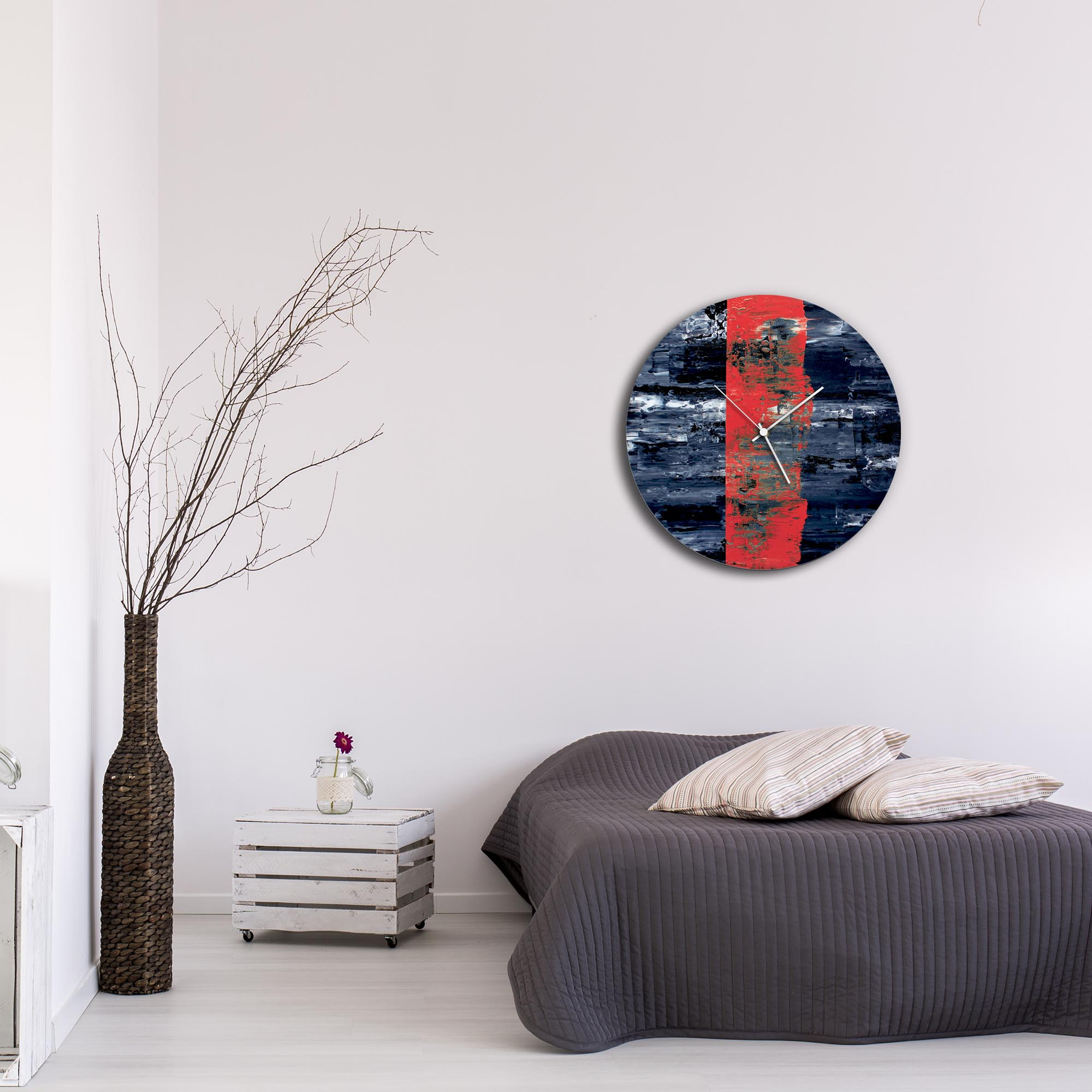 Red Line Circle Clock Large by Mendo Vasilevski - Urban Abstract Home Decor - Lifestyle View