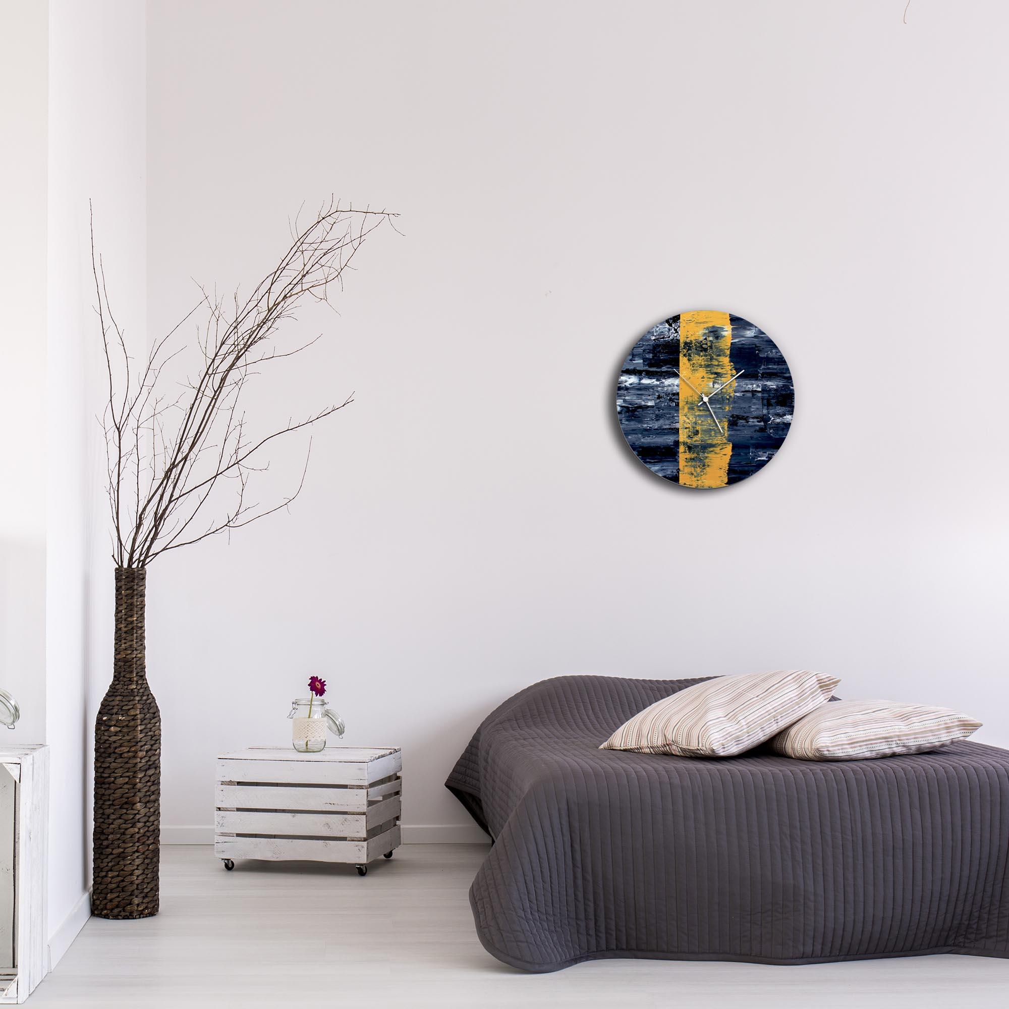 Yellow Line Circle Clock by Mendo Vasilevski - Urban Abstract Home Decor - Lifestyle View