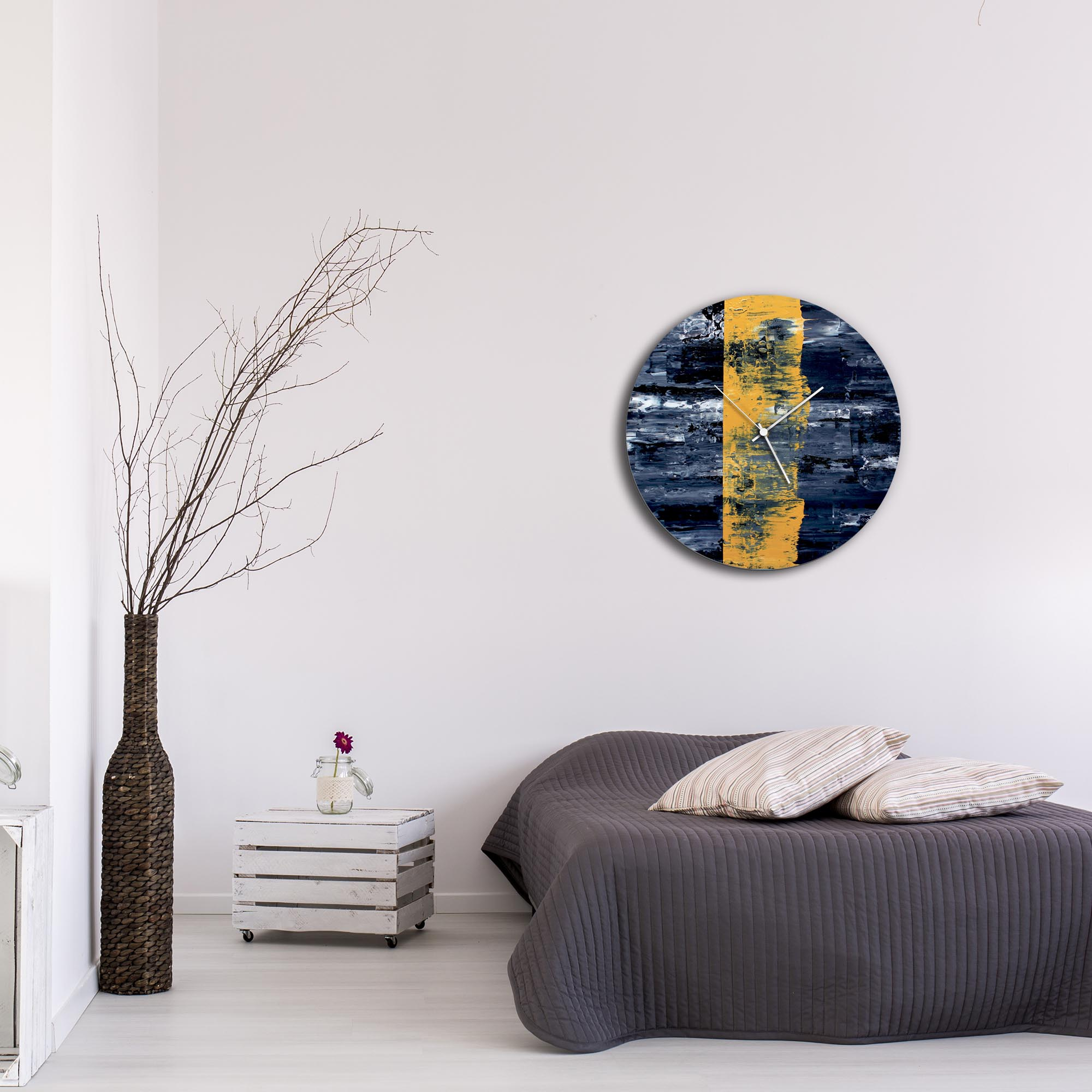Yellow Line Circle Clock Large by Mendo Vasilevski - Urban Abstract Home Decor - Lifestyle View