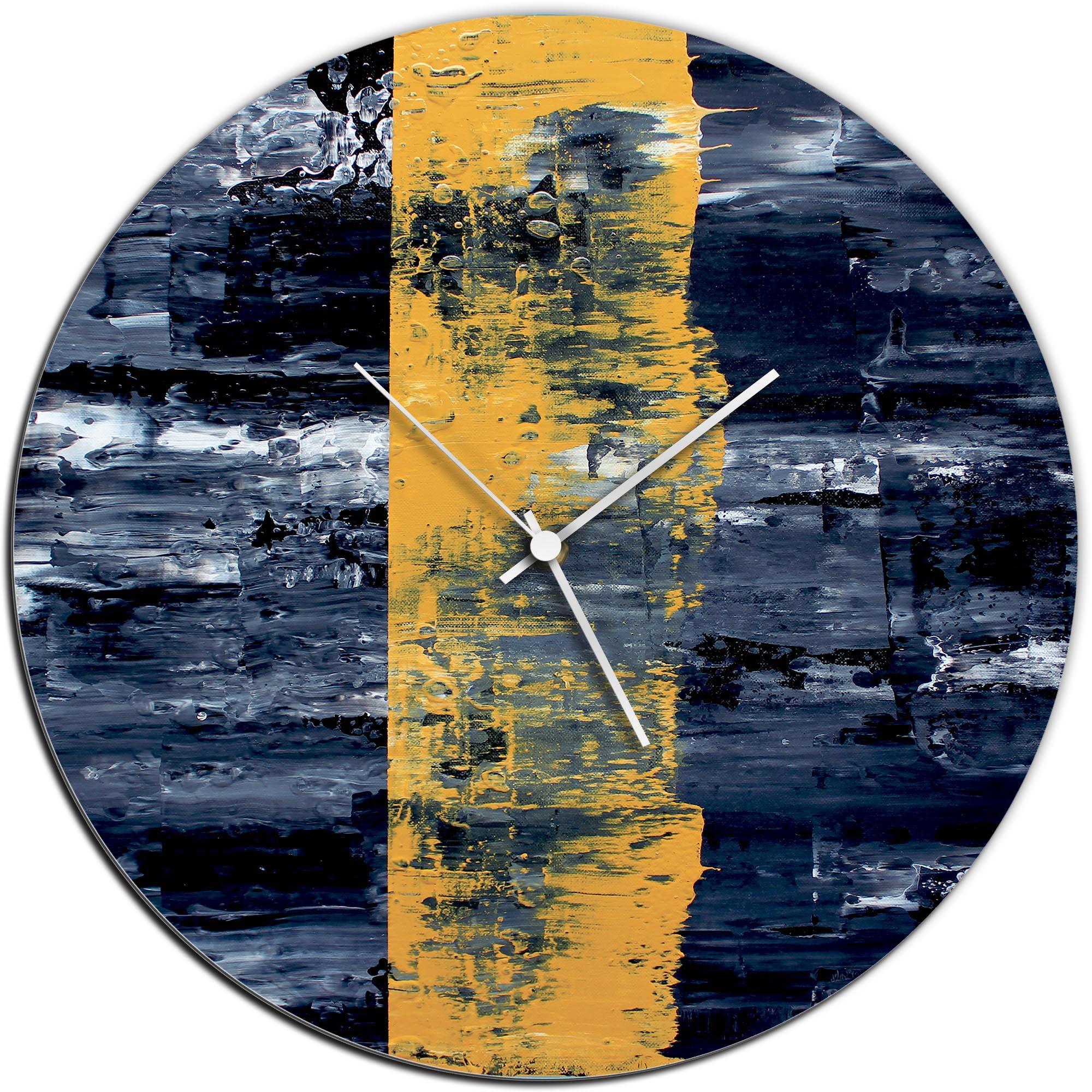 Mendo Vasilevski 'Yellow Line Circle Clock Large' 22in x 22in Modern Wall Clock on Aluminum Composite