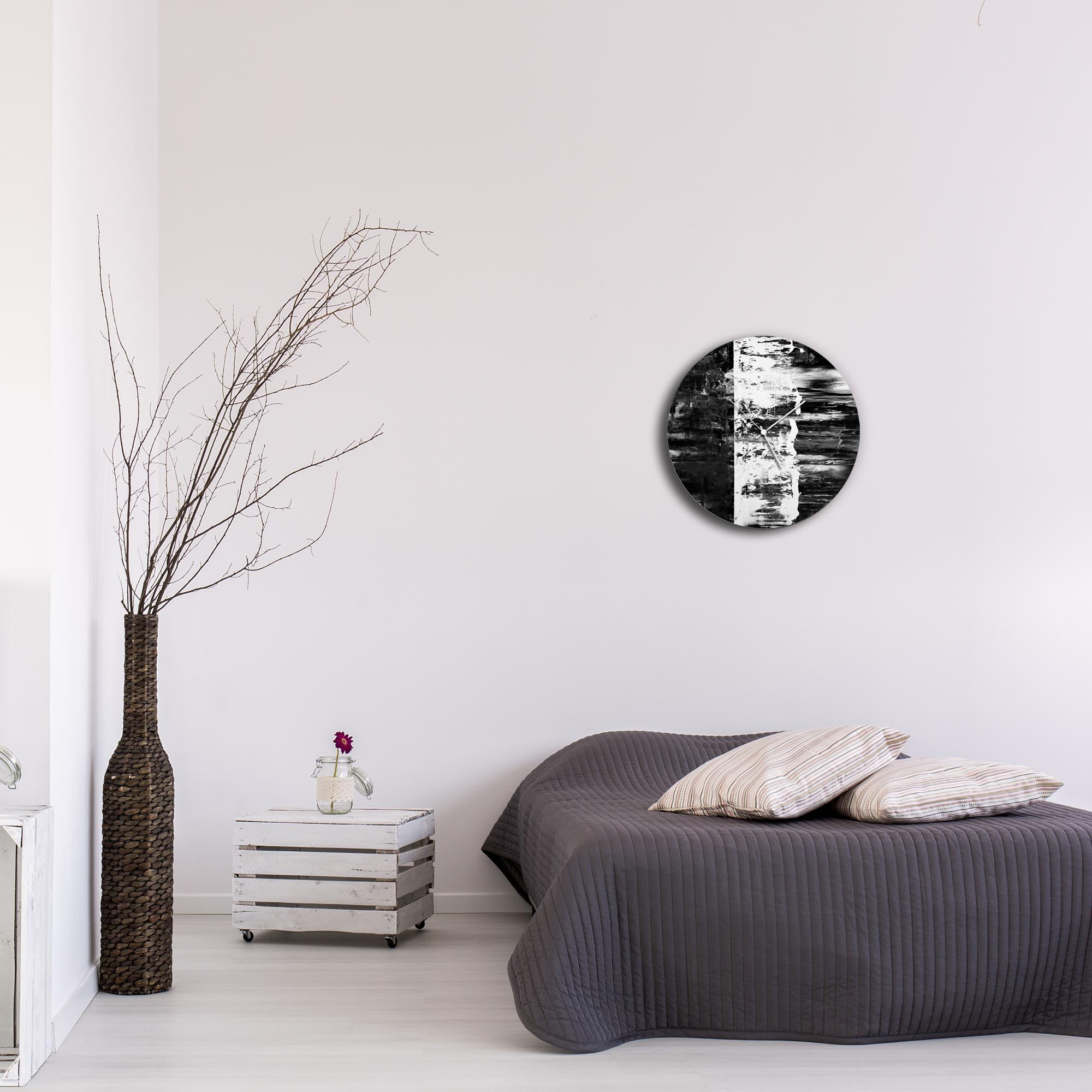 Black Street Circle Clock by Mendo Vasilevski - Urban Abstract Home Decor - Lifestyle View