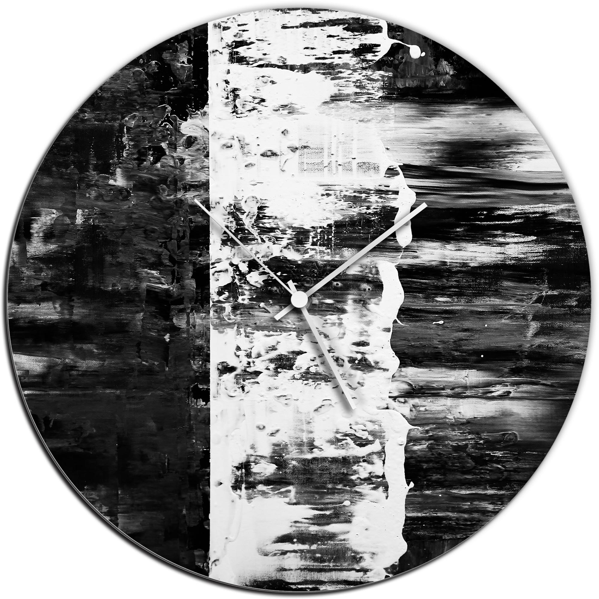 Mendo Vasilevski 'Black Street Circle Clock' 16in x 16in Modern Wall Clock on Aluminum Composite