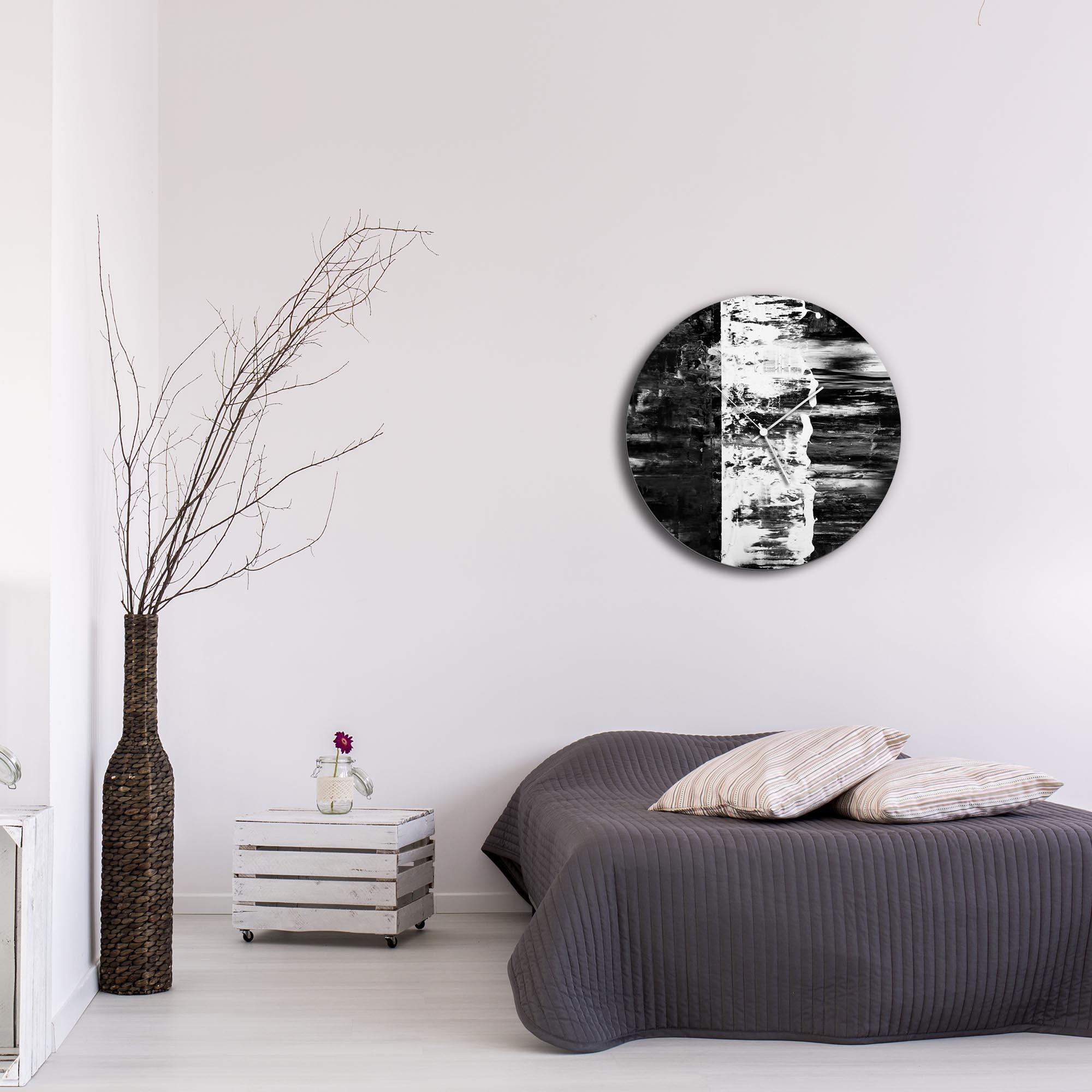 Black Street Circle Clock Large by Mendo Vasilevski - Urban Abstract Home Decor - Lifestyle View