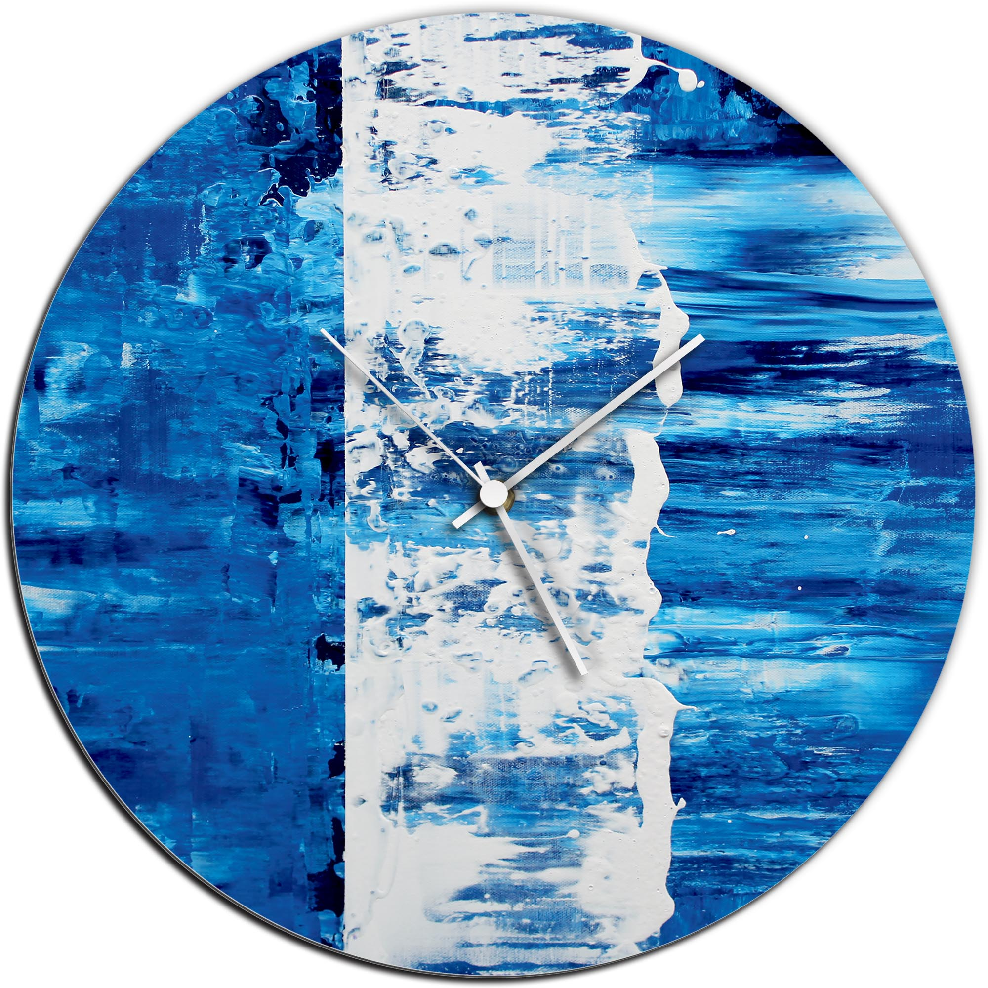 Mendo Vasilevski 'Blue Street Circle Clock' 16in x 16in Modern Wall Clock on Aluminum Composite