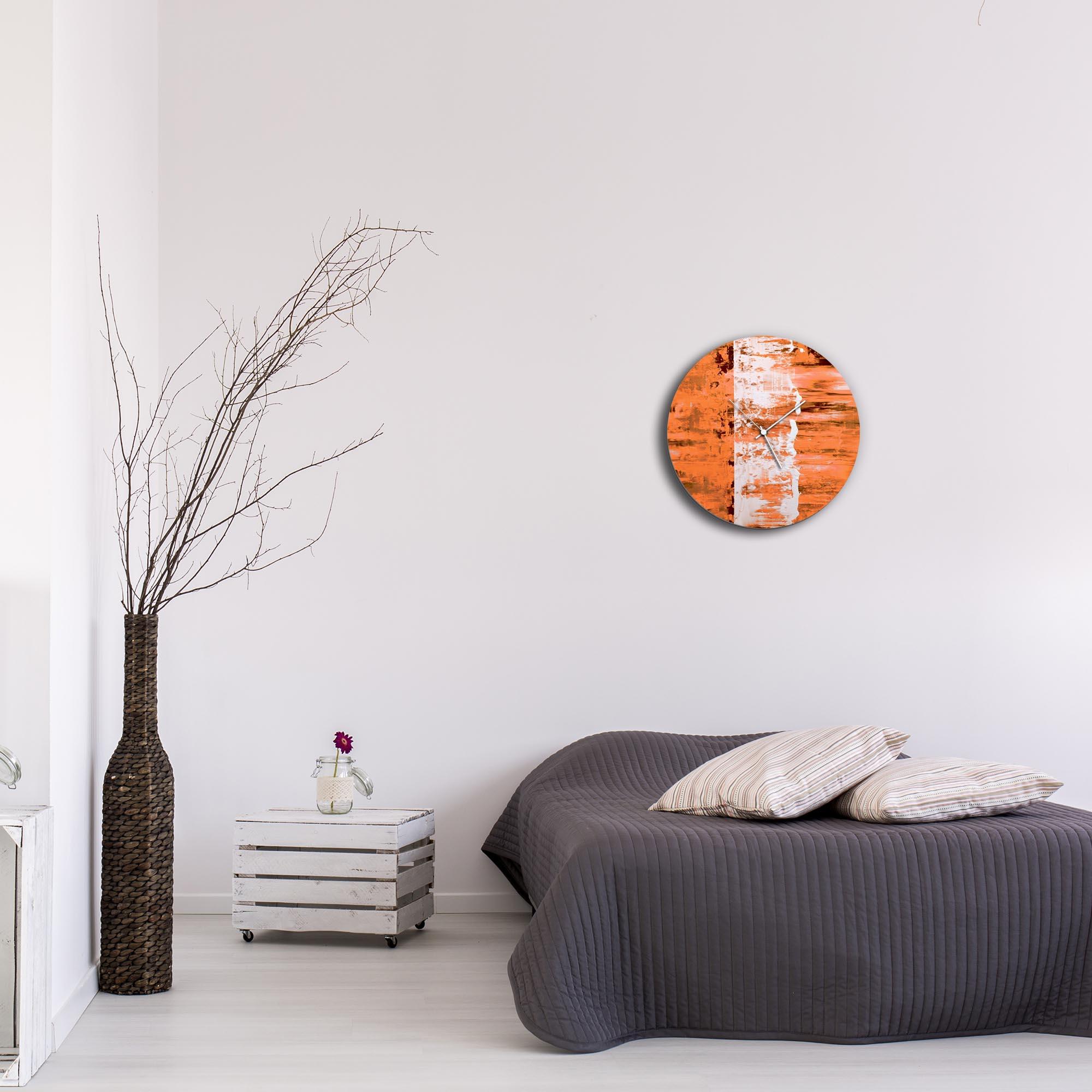 Orange Street Circle Clock by Mendo Vasilevski - Urban Abstract Home Decor - Lifestyle View