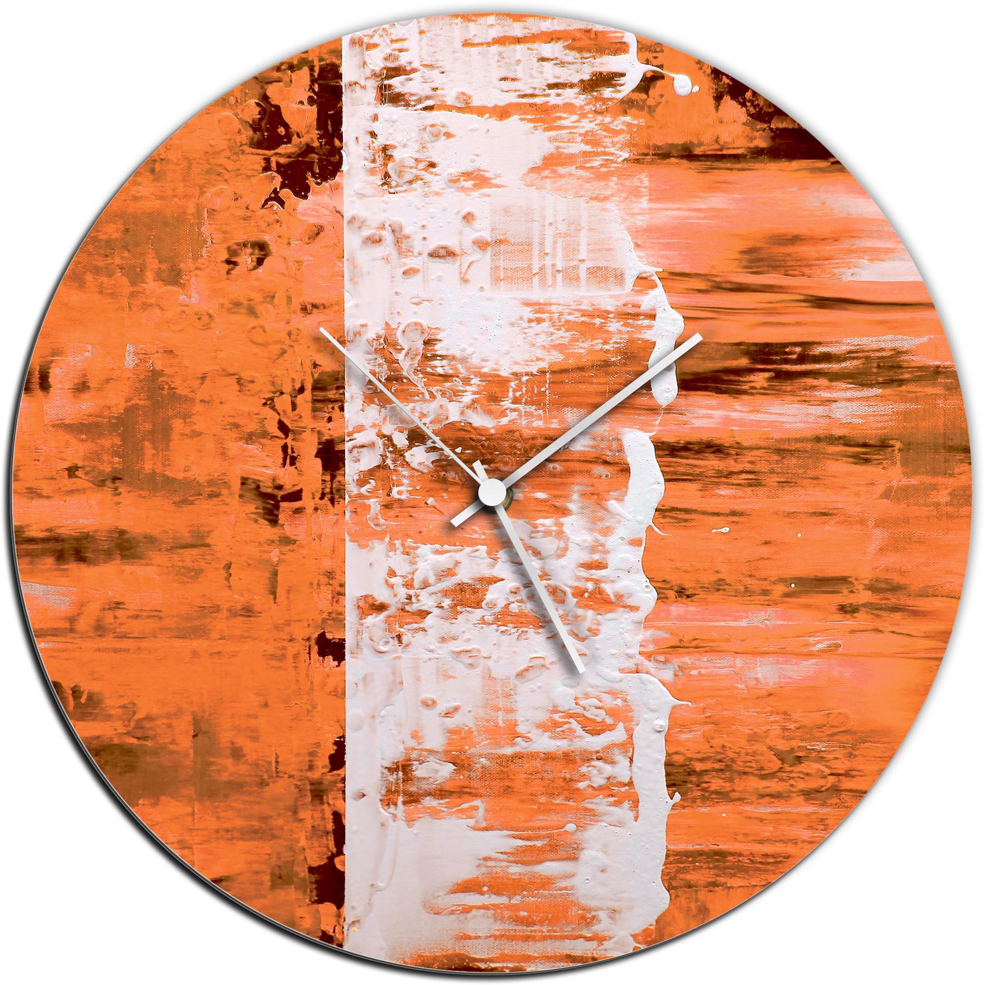 Mendo Vasilevski 'Orange Street Circle Clock' 16in x 16in Modern Wall Clock on Aluminum Composite