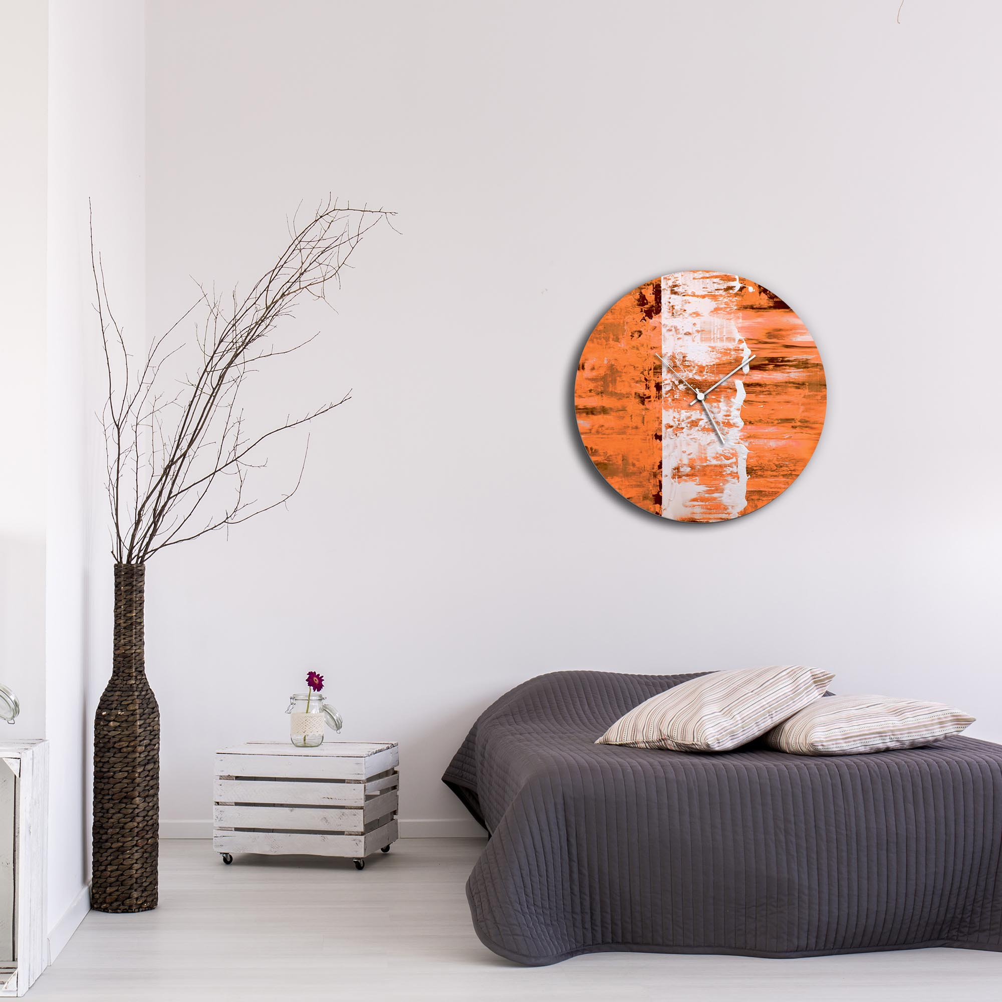 Orange Street Circle Clock Large by Mendo Vasilevski - Urban Abstract Home Decor - Lifestyle View