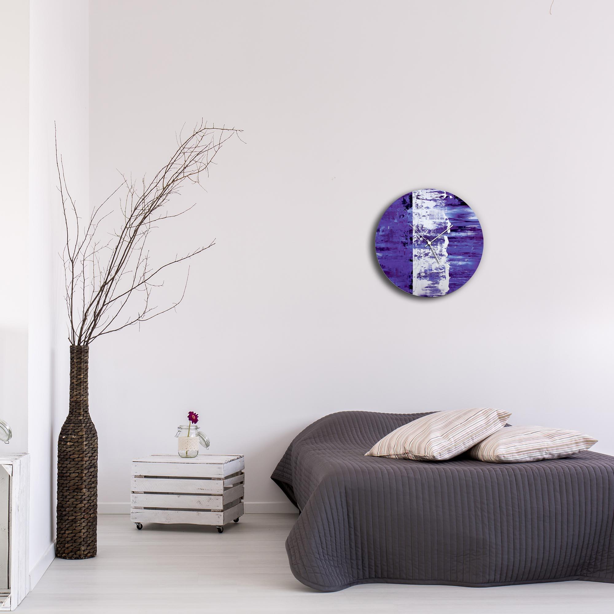Purple Street Circle Clock by Mendo Vasilevski - Urban Abstract Home Decor - Lifestyle View