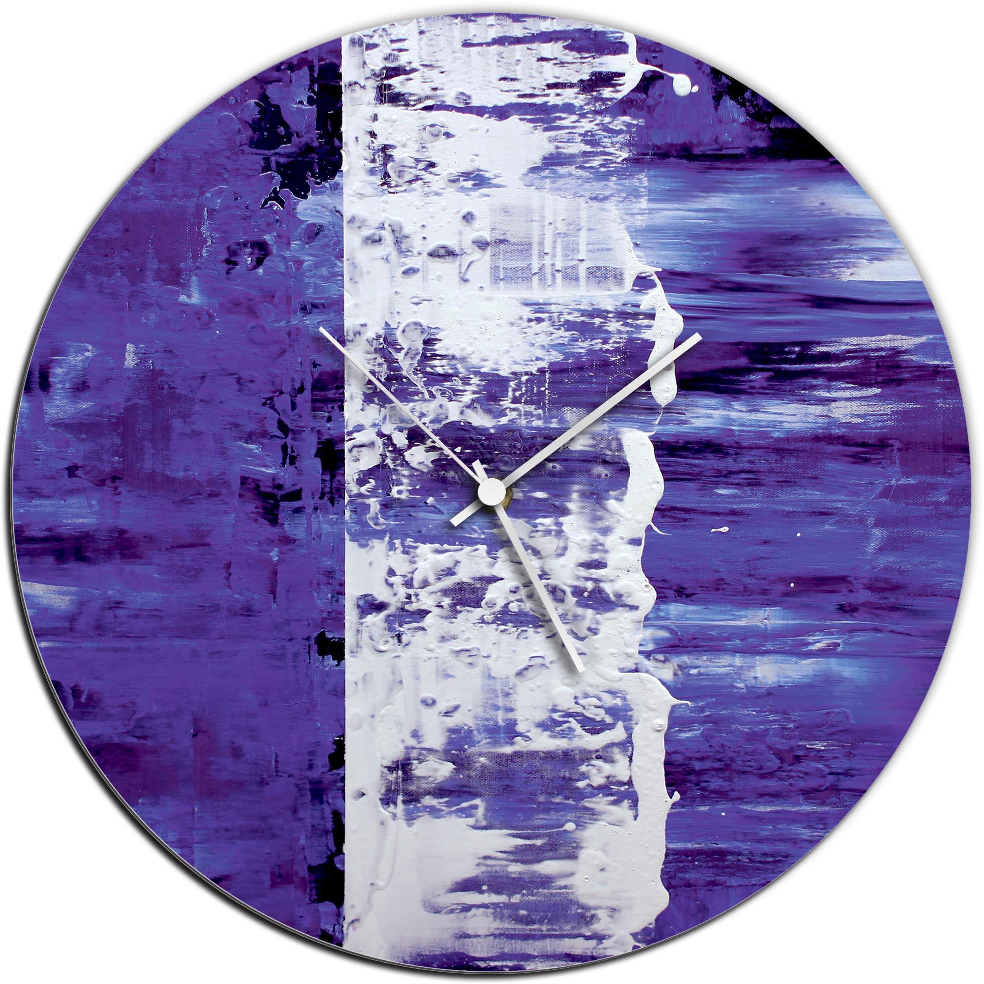 Mendo Vasilevski 'Purple Street Circle Clock' 16in x 16in Modern Wall Clock on Aluminum Composite