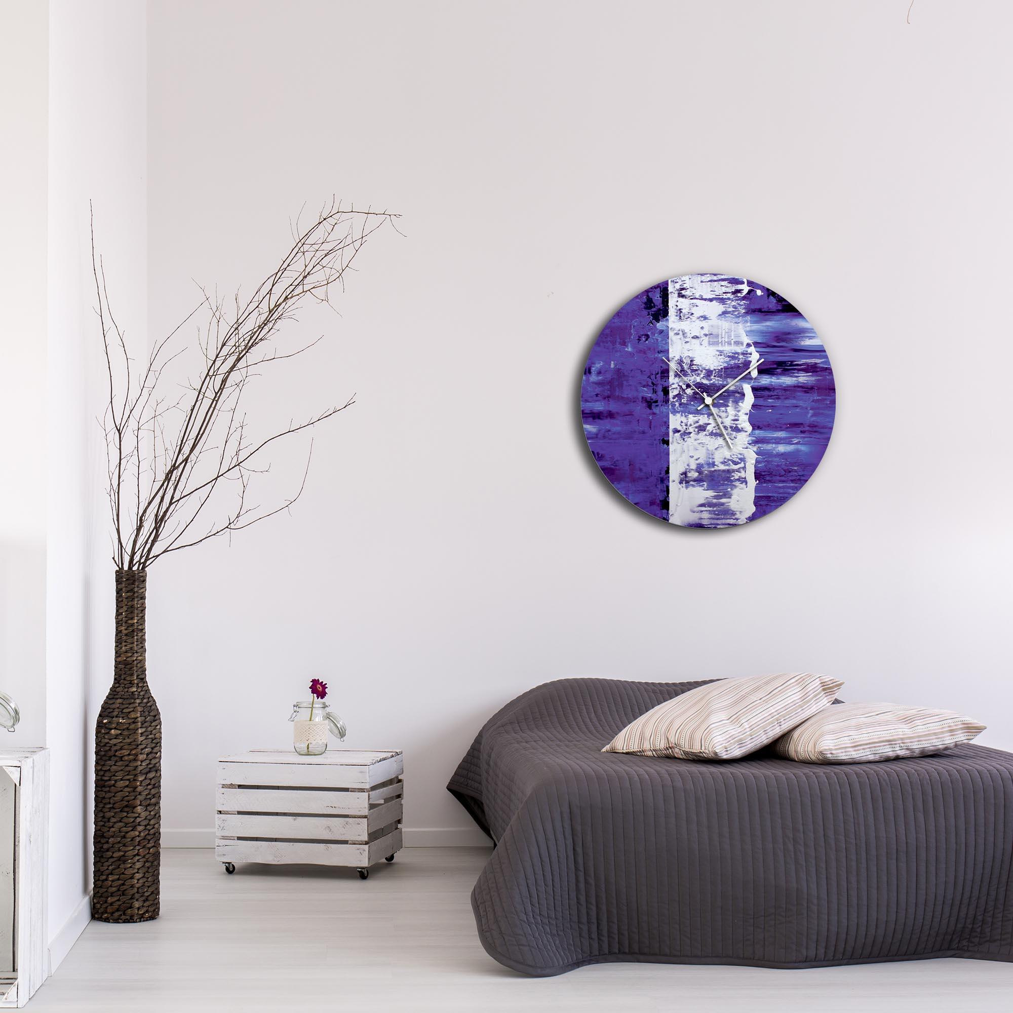 Purple Street Circle Clock Large by Mendo Vasilevski - Urban Abstract Home Decor - Lifestyle View