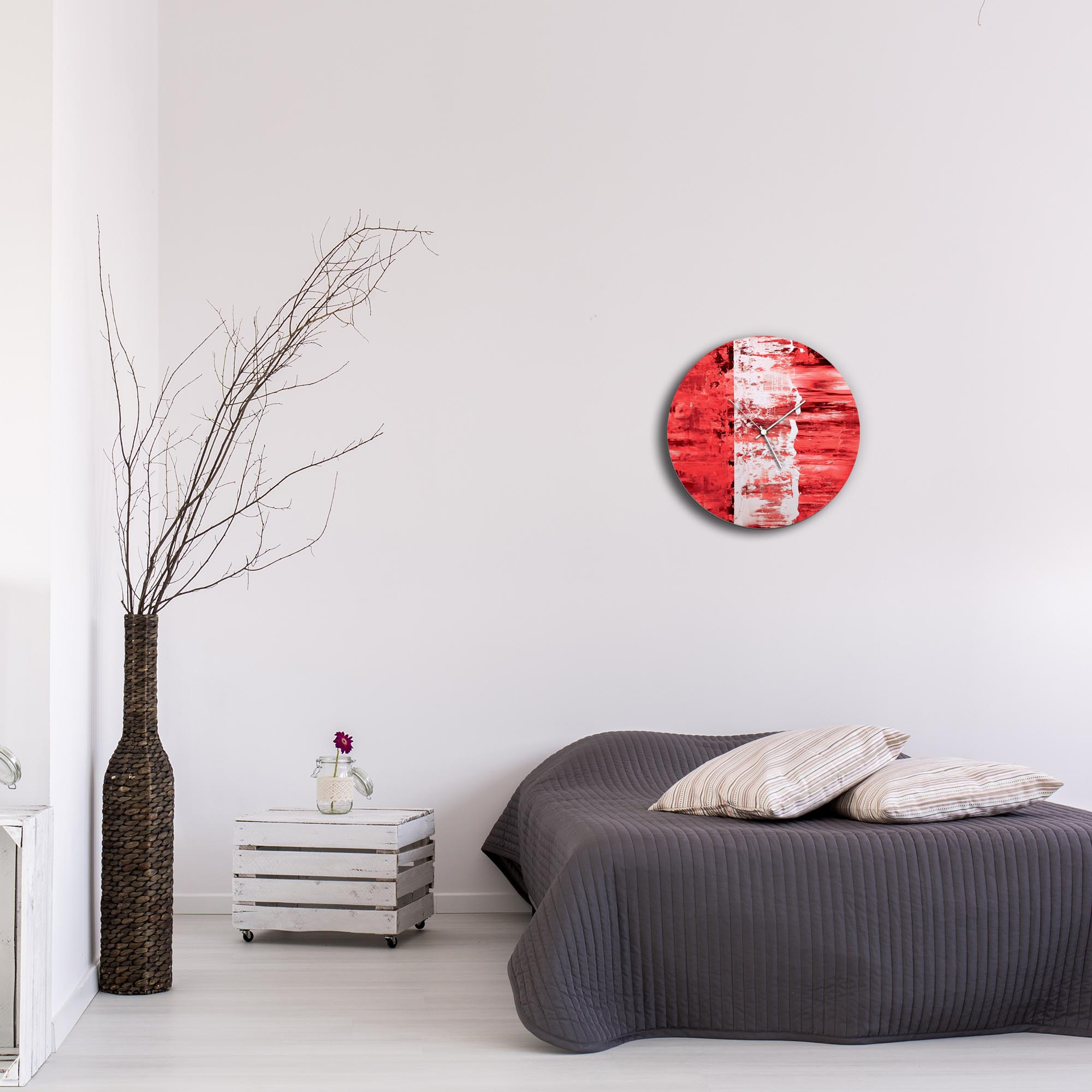 Red Street Circle Clock by Mendo Vasilevski - Urban Abstract Home Decor - Lifestyle View