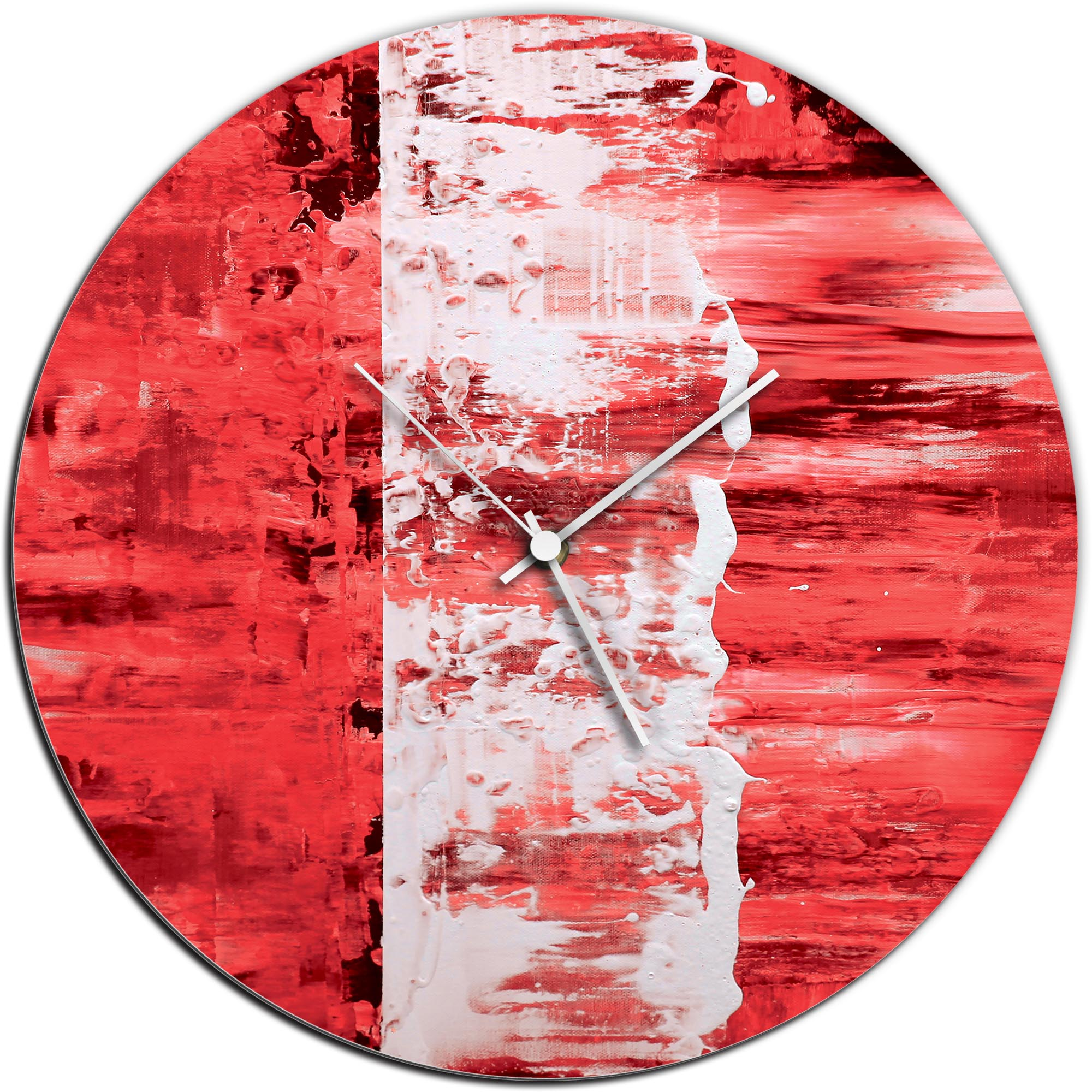 Mendo Vasilevski 'Red Street Circle Clock' 16in x 16in Modern Wall Clock on Aluminum Composite