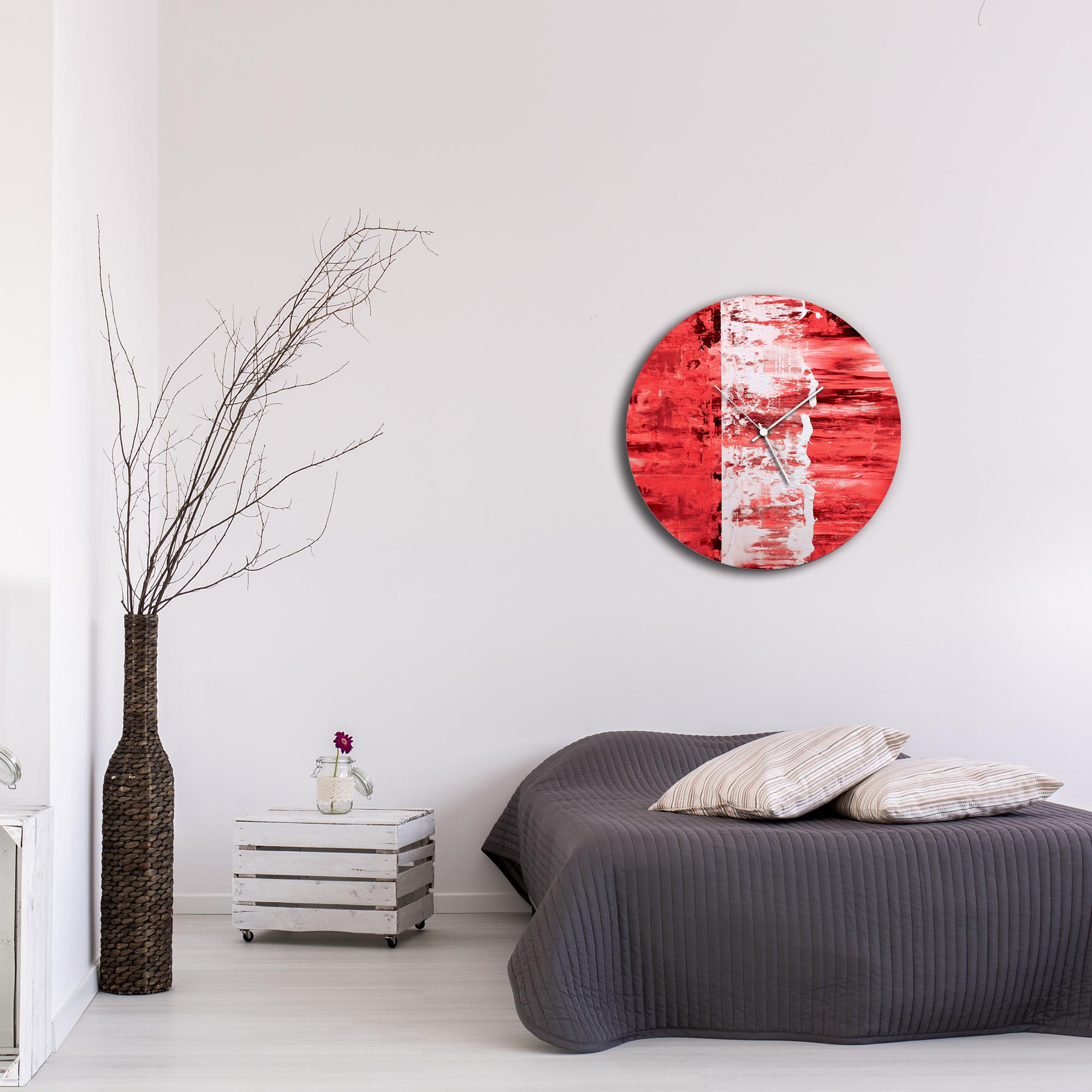 Red Street Circle Clock Large by Mendo Vasilevski - Urban Abstract Home Decor - Lifestyle View