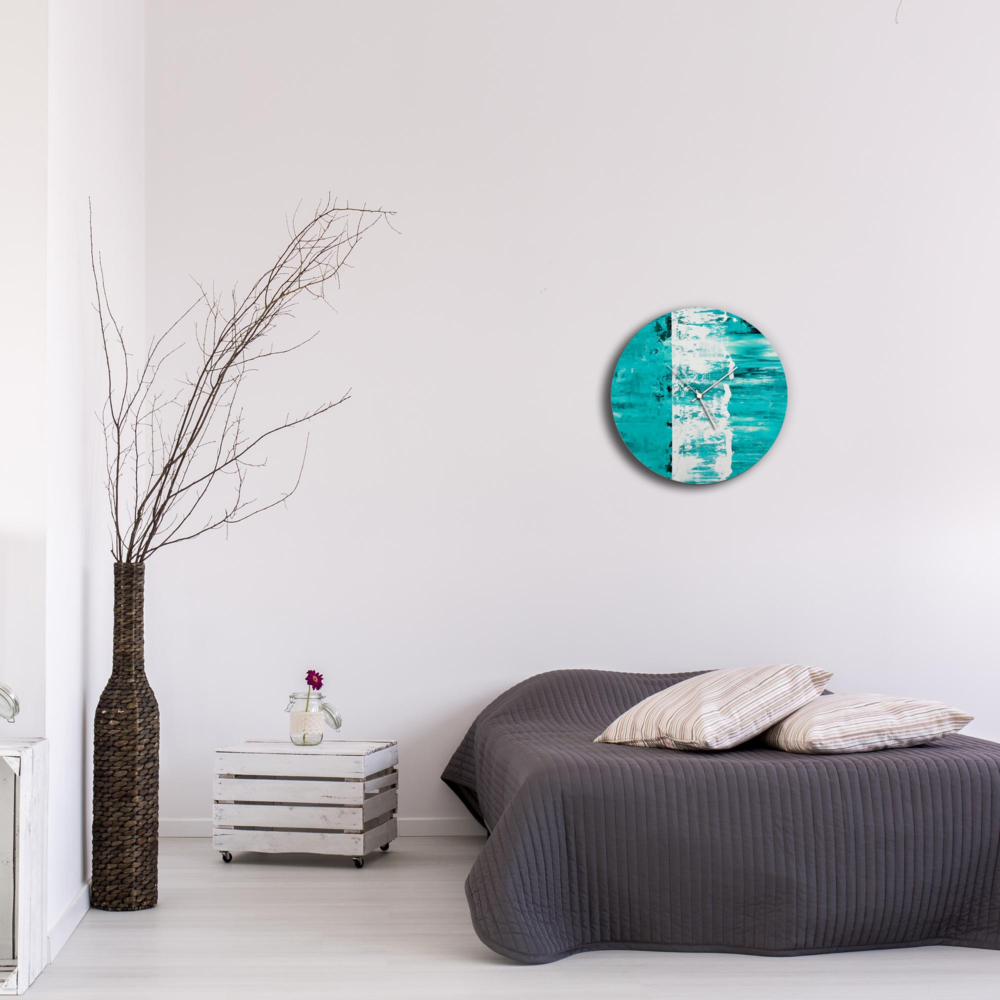 Teal Street Circle Clock by Mendo Vasilevski - Urban Abstract Home Decor - Lifestyle View