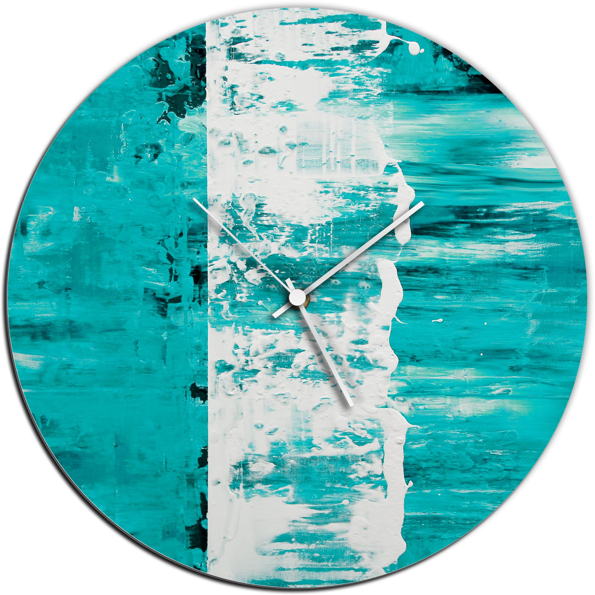 Mendo Vasilevski 'Teal Street Circle Clock' 16in x 16in Modern Wall Clock on Aluminum Composite