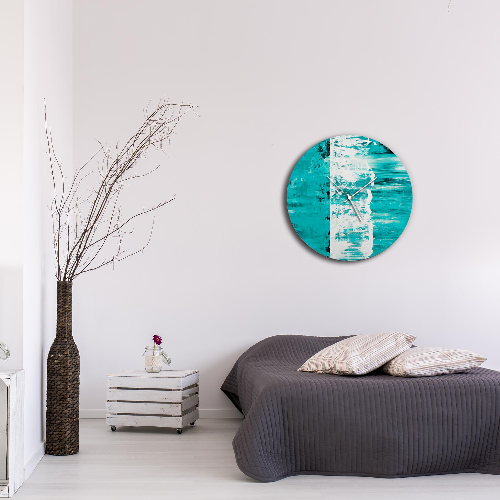 Teal Street Circle Clock Large by Mendo Vasilevski - Urban Abstract Home Decor - Lifestyle View