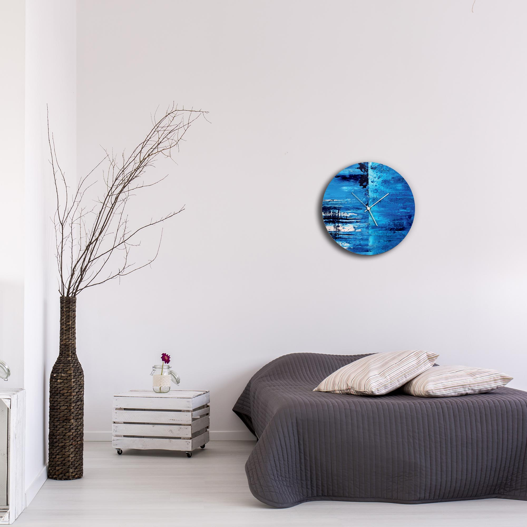 City Blue Circle Clock by Mendo Vasilevski - Urban Abstract Home Decor - Lifestyle View