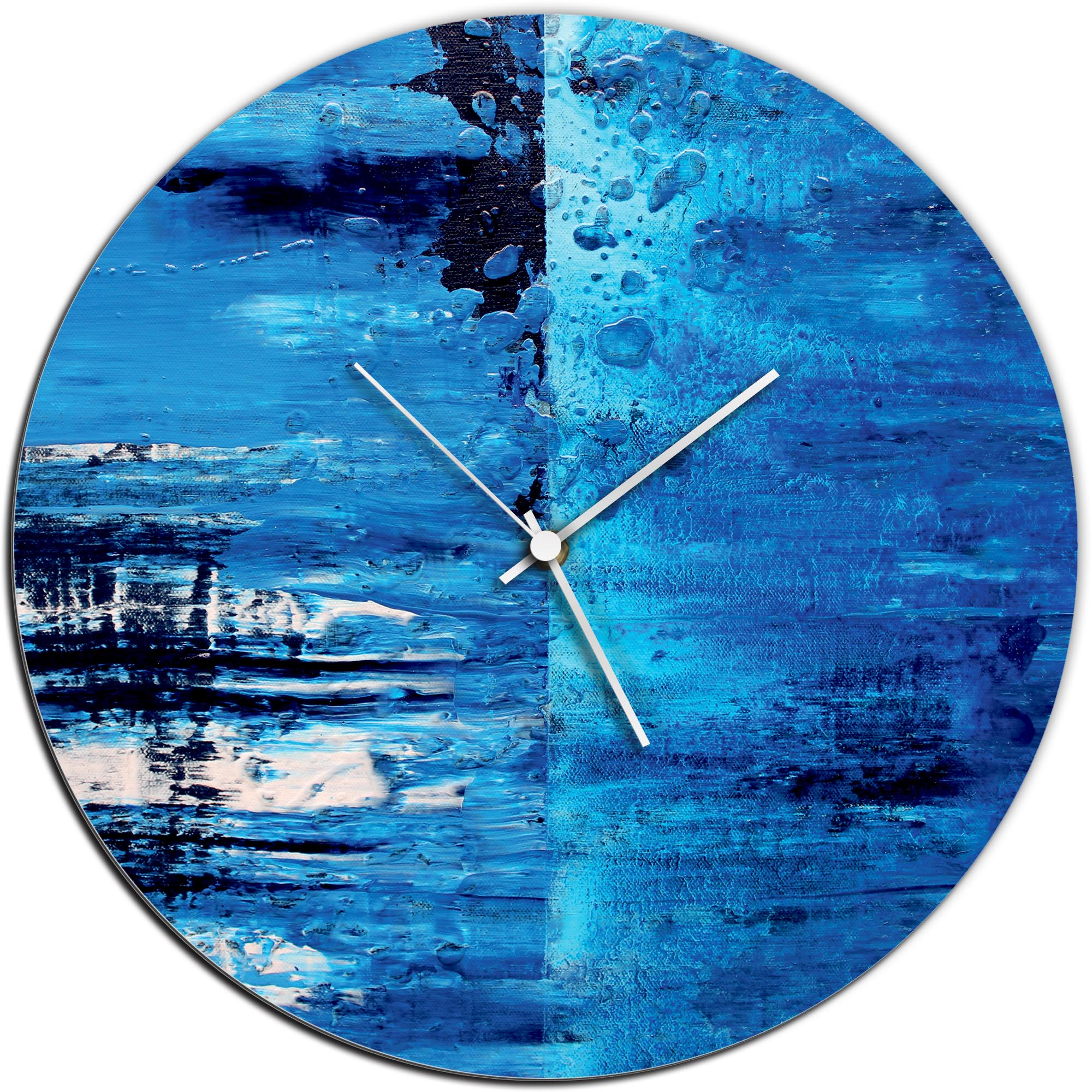 Mendo Vasilevski 'City Blue Circle Clock' 16in x 16in Modern Wall Clock on Aluminum Composite