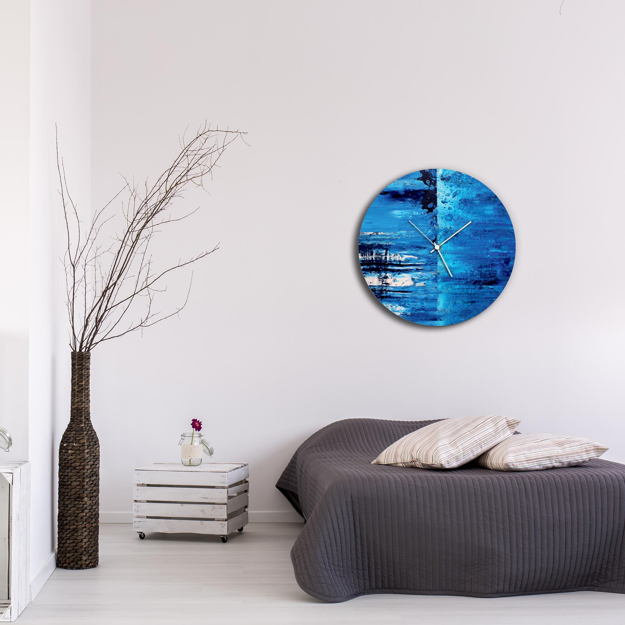 City Blue Circle Clock Large by Mendo Vasilevski - Urban Abstract Home Decor - Lifestyle View