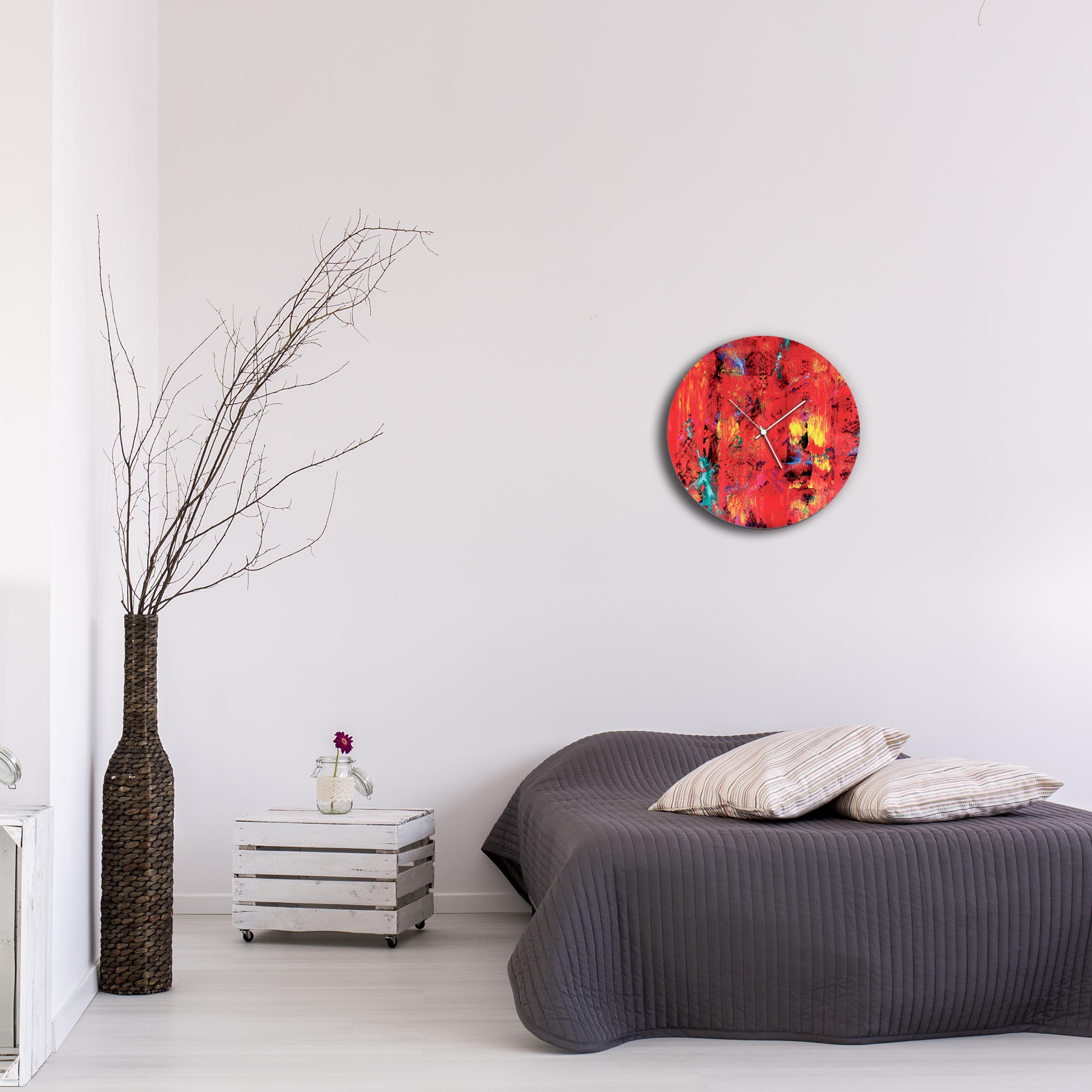 City Colors Circle Clock by Mendo Vasilevski - Urban Abstract Home Decor - Lifestyle View