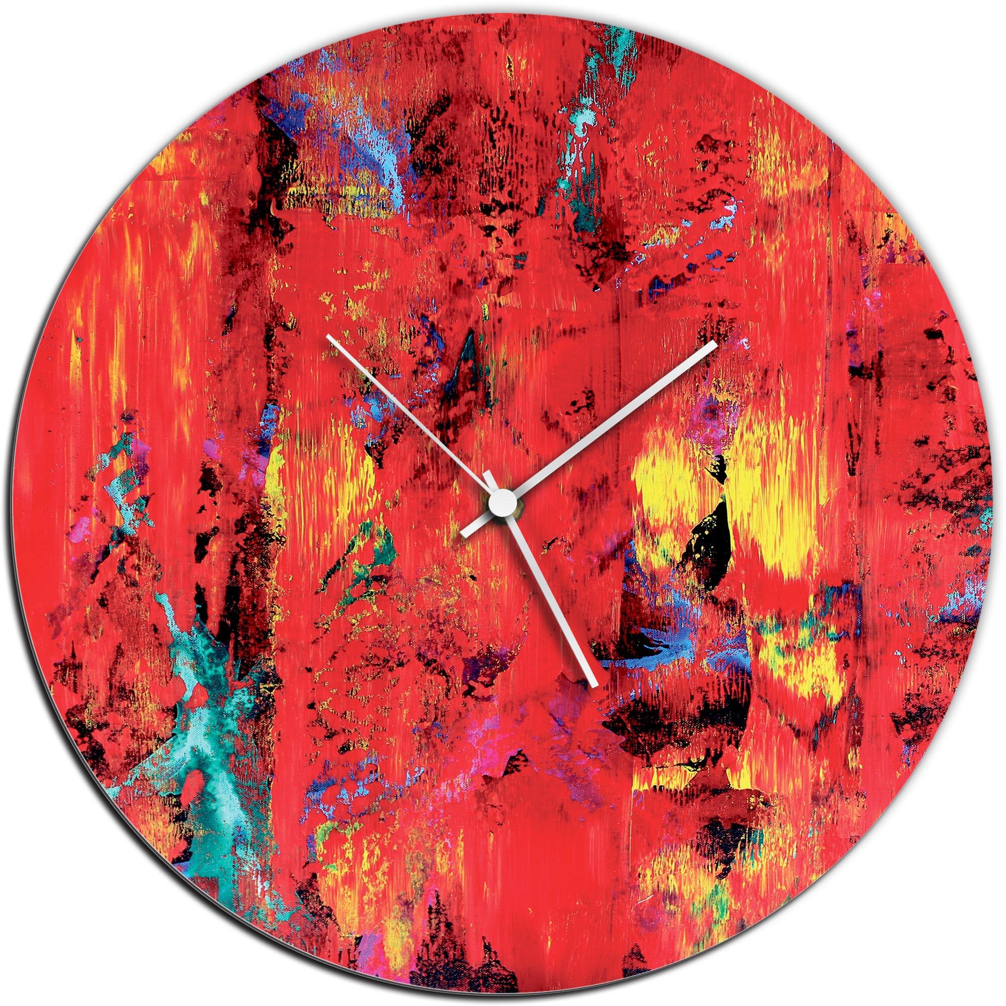 Mendo Vasilevski 'City Colors Circle Clock' 16in x 16in Modern Wall Clock on Aluminum Composite