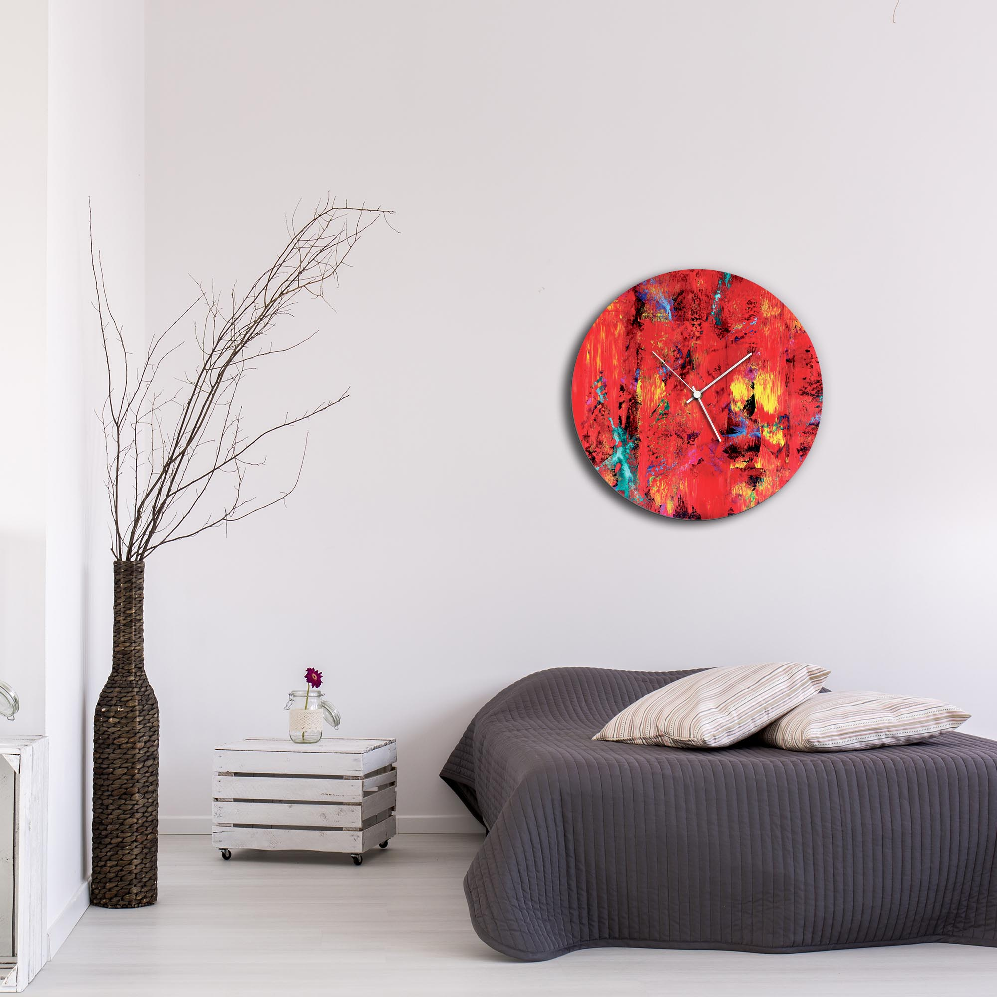 City Colors Circle Clock Large by Mendo Vasilevski - Urban Abstract Home Decor - Lifestyle View