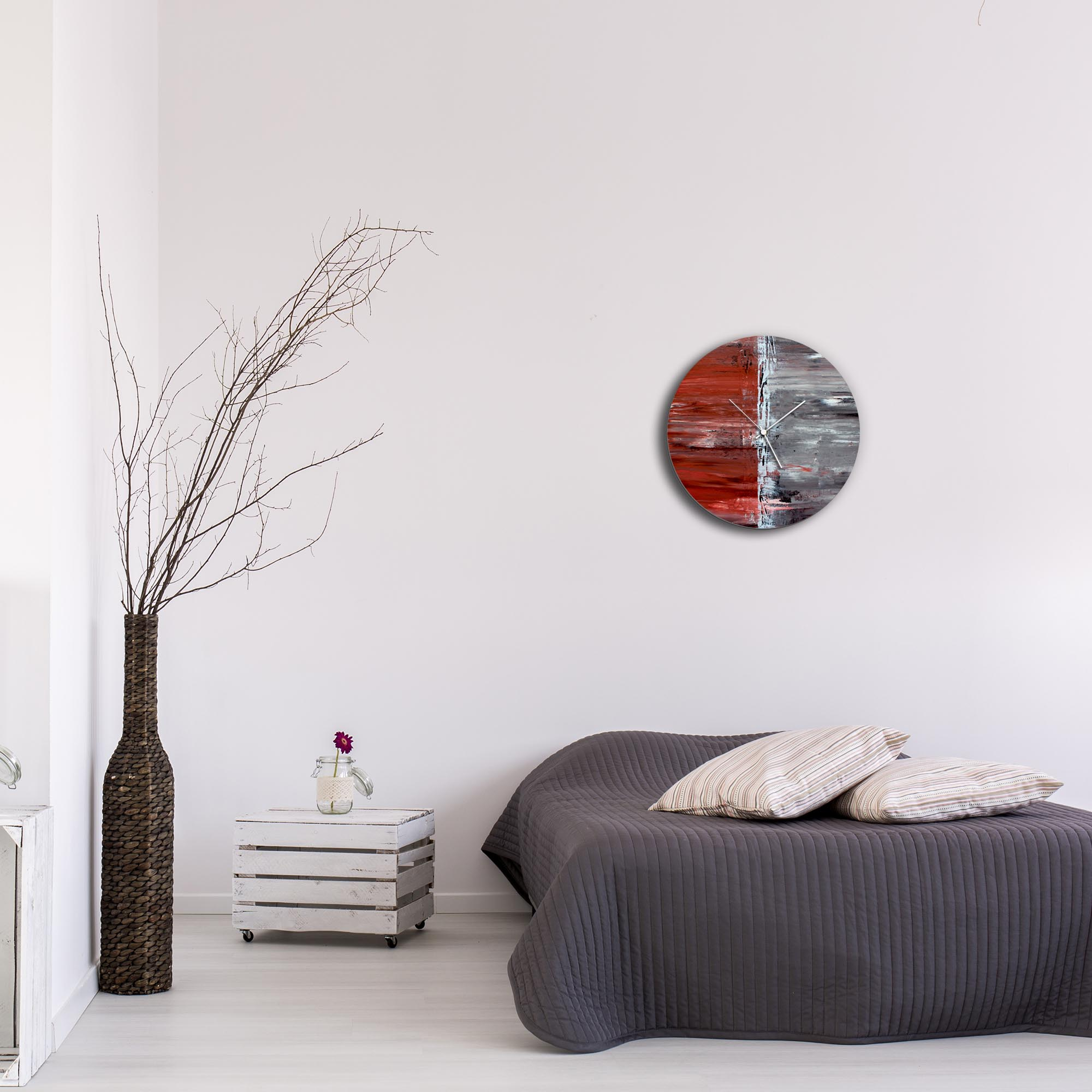 City Alley Circle Clock by Mendo Vasilevski - Urban Abstract Home Decor - Lifestyle View