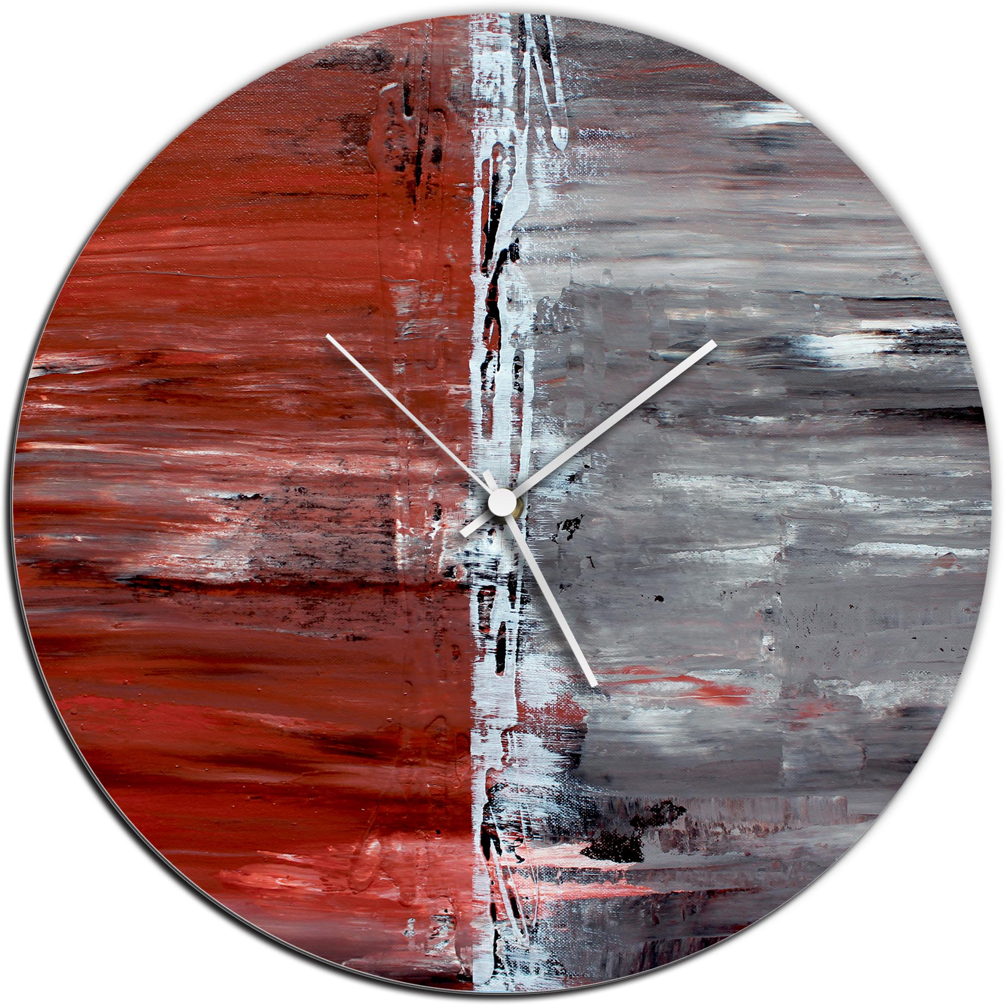 Mendo Vasilevski 'City Alley Circle Clock' 16in x 16in Modern Wall Clock on Aluminum Composite