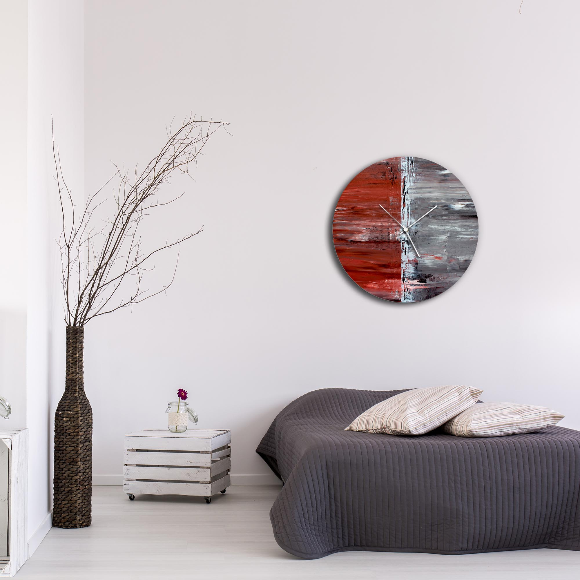 City Alley Circle Clock Large by Mendo Vasilevski - Urban Abstract Home Decor - Lifestyle View