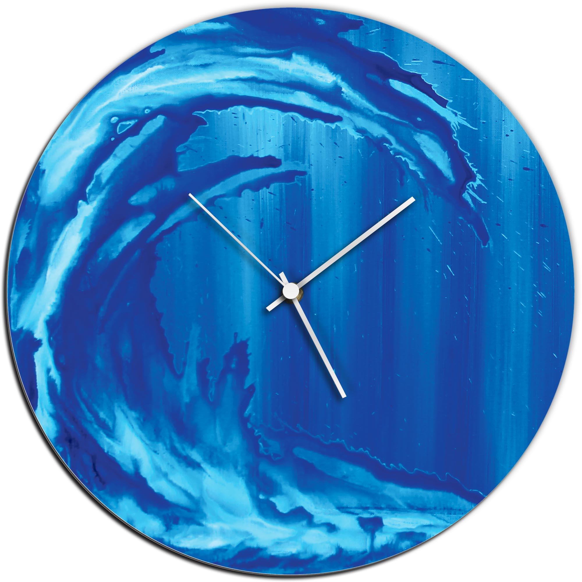 Mendo Vasilevski 'Ocean Wave Circle Clock' 16in x 16in Modern Wall Clock on Aluminum Composite