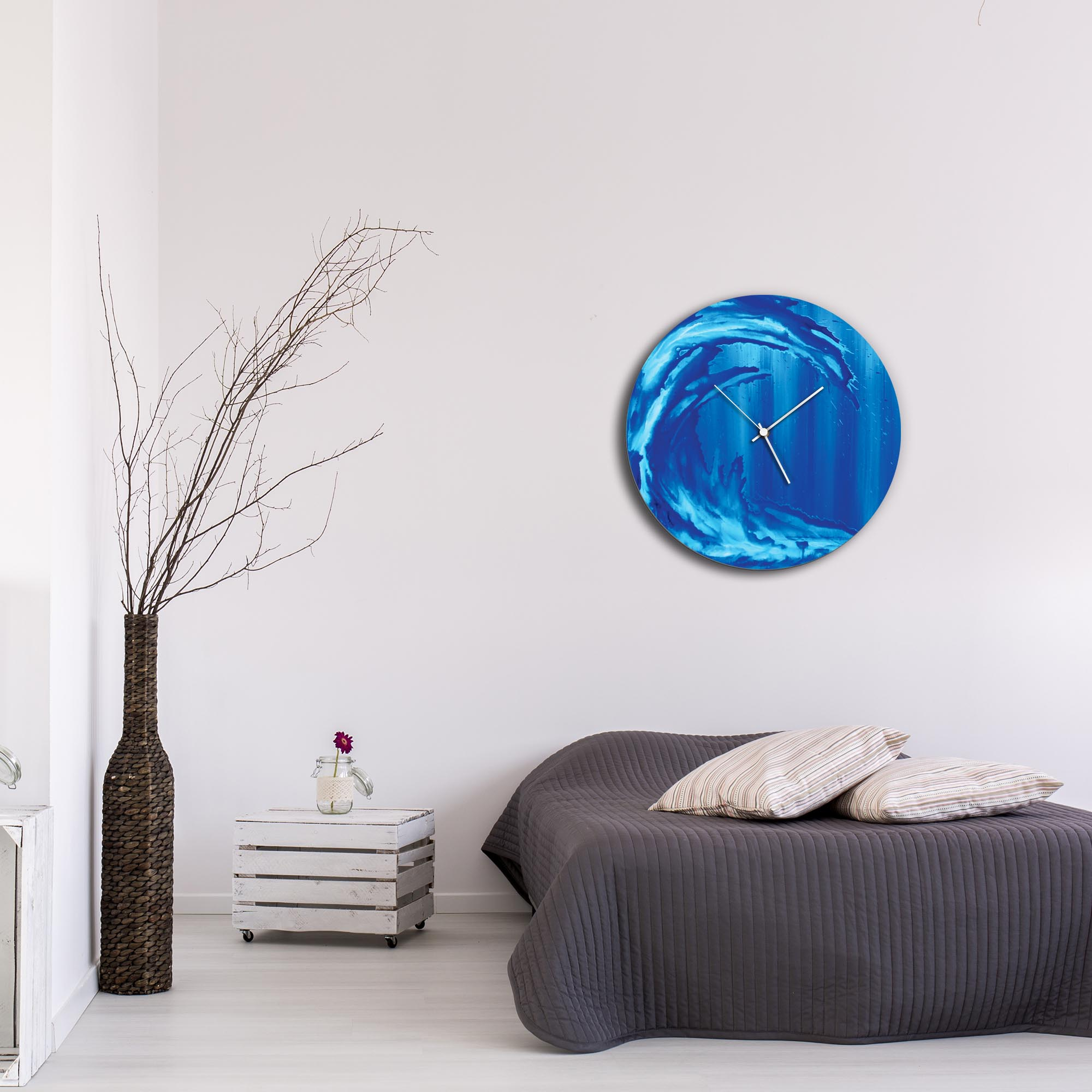 Ocean Wave Circle Clock Large by Mendo Vasilevski - Urban Abstract Home Decor - Lifestyle View