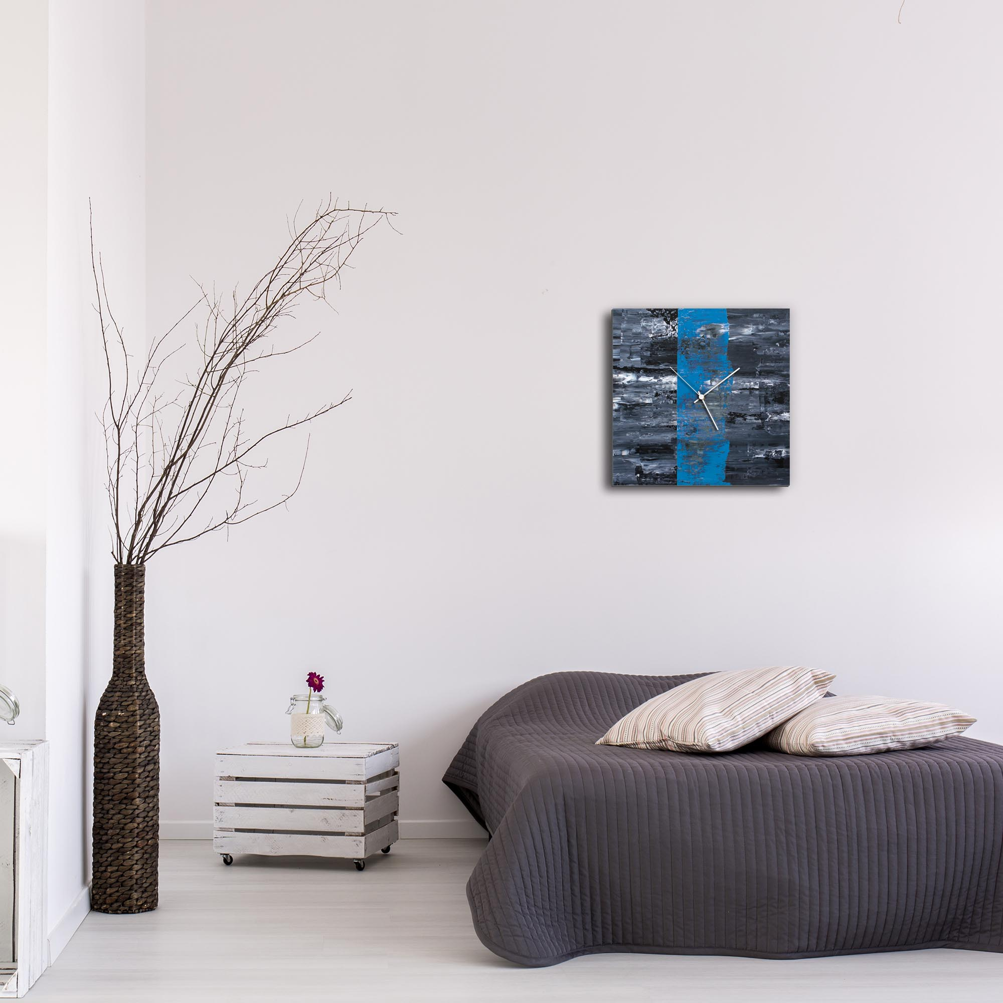 Blue Line Square Clock by Mendo Vasilevski - Urban Abstract Home Decor - Lifestyle View