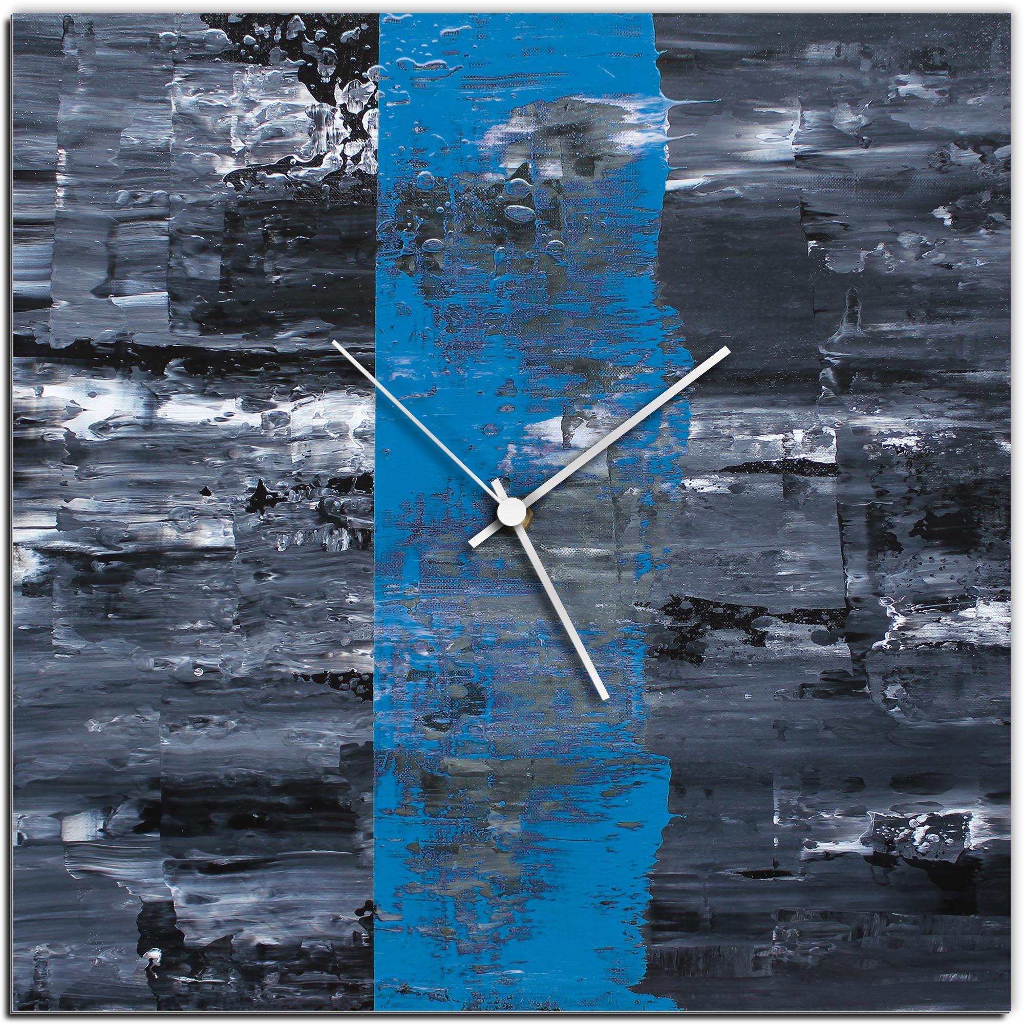 Mendo Vasilevski 'Blue Line Square Clock' 16in x 16in Modern Wall Clock on Aluminum Composite